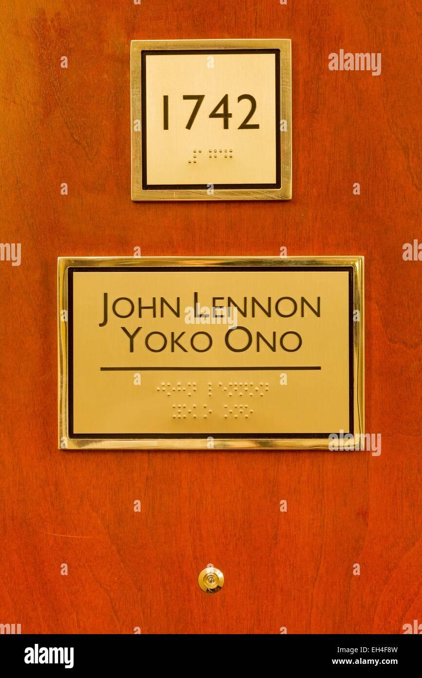 Canadá, provincia de Quebec, Montreal, Queen Elizabeth Hotel, Suite 1742, donde la segunda cama de John Lennon Imagen De Stock