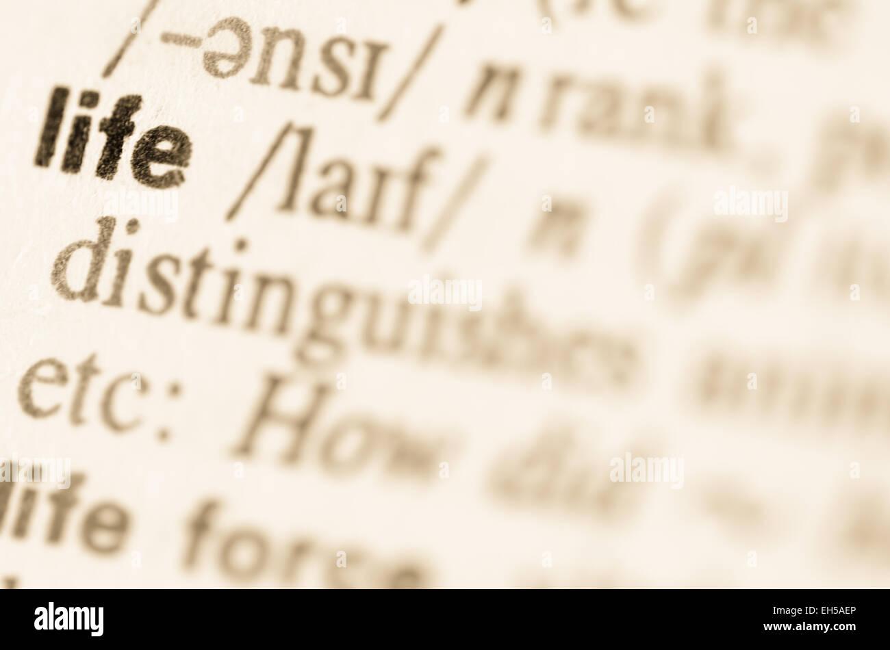 Definición de la palabra vida en el diccionario. Imagen De Stock