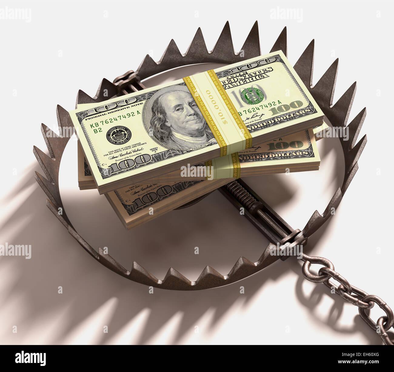 Pila de dólares en una trampa. Trazado de recorte incluido. Imagen De Stock