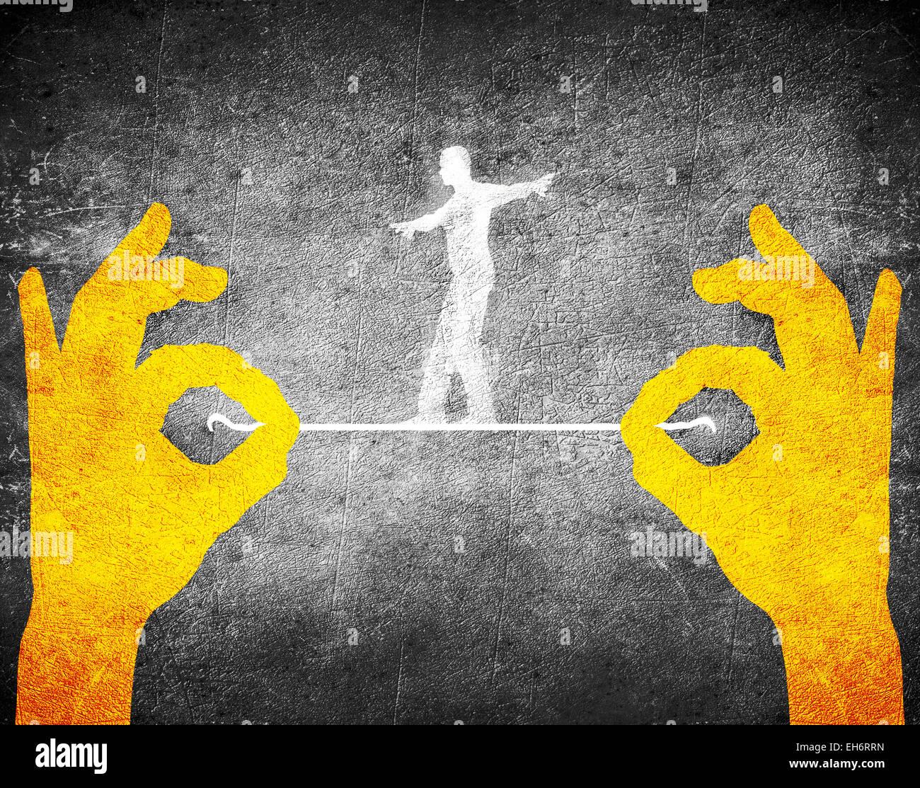 Manos de naranja y equilibrista Imagen De Stock