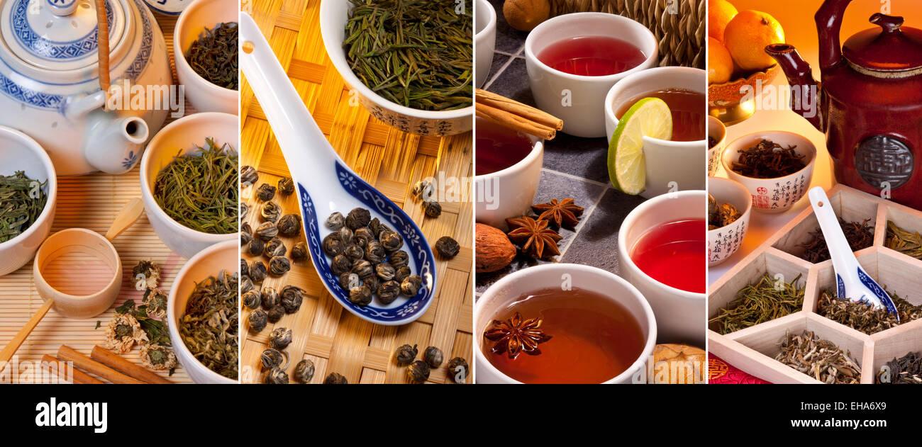 Selección de tés verdes chinos y tés de hierbas y especiados. Imagen De  Stock 1c4e4bf7a1b8