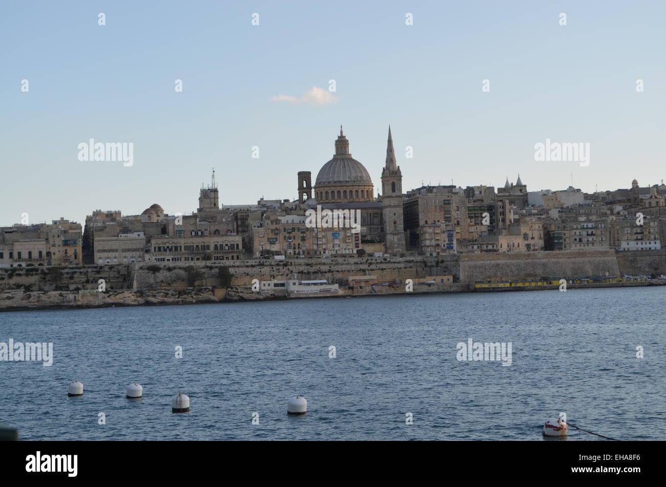 St.Pauls aValletta AnglicanCathedral es considerada histórica isla fromManoel.Se dijo que hay achurch para Imagen De Stock