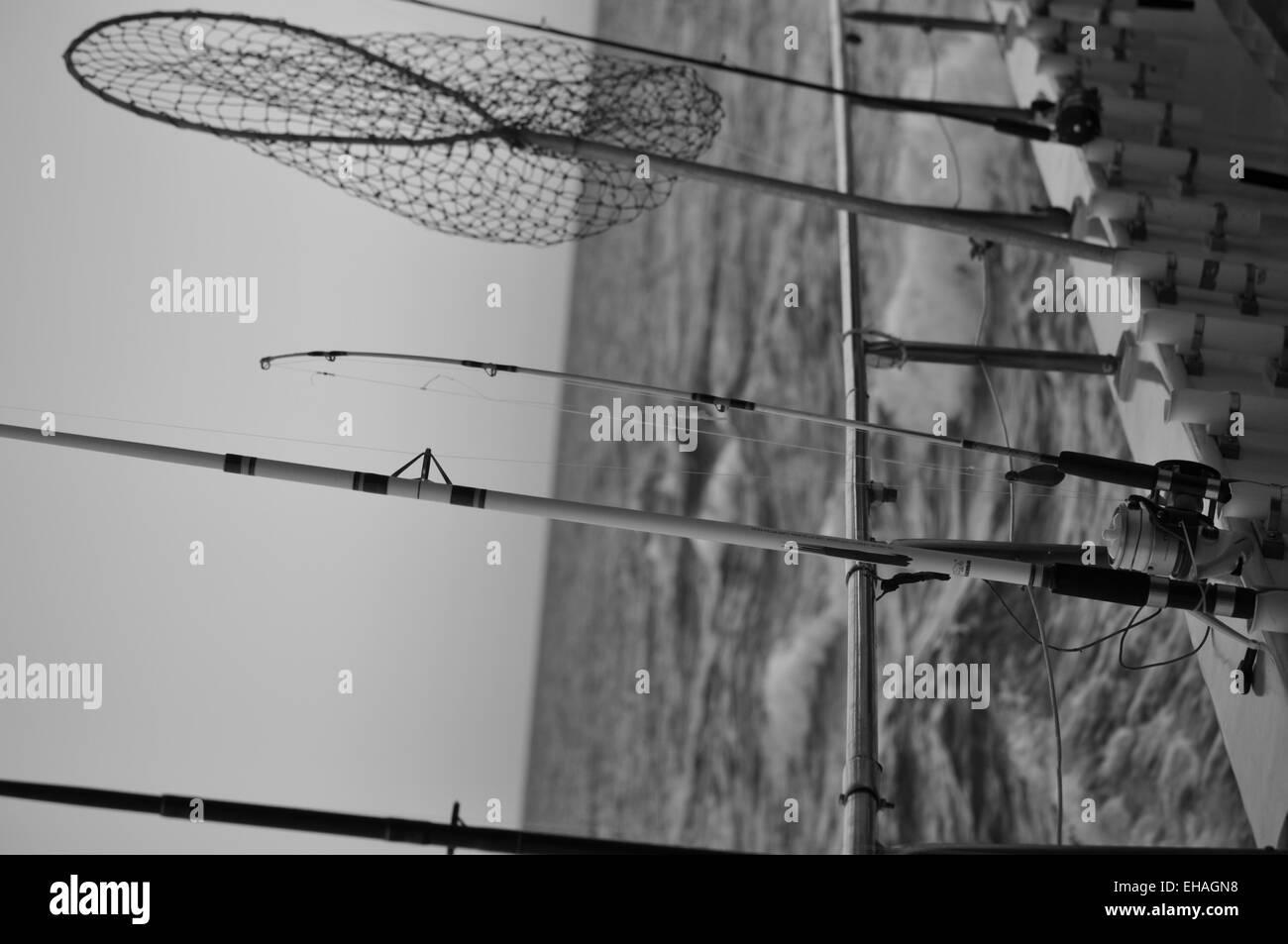 Cañas de pescar y net b/w Imagen De Stock
