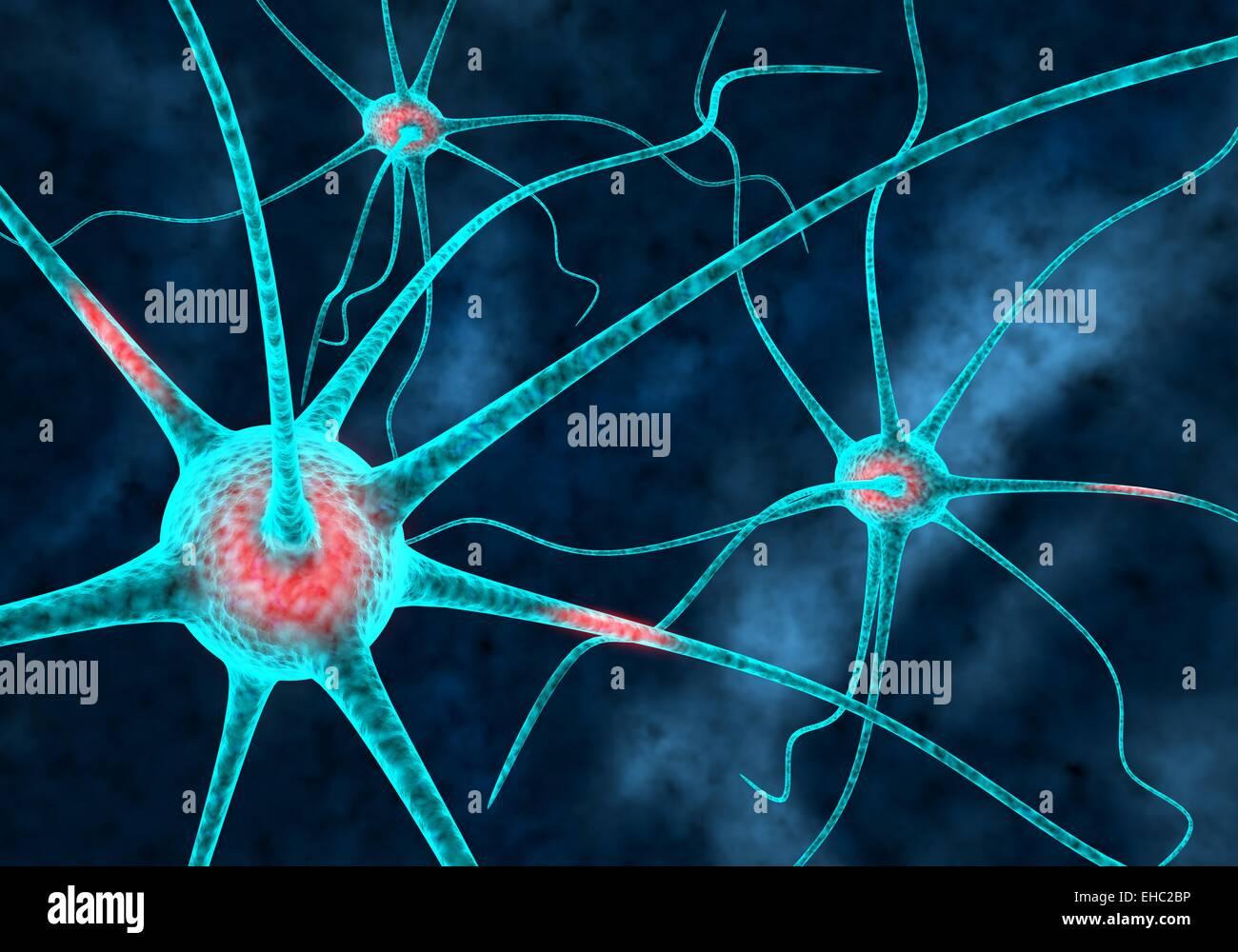 Las neuronas cerebrales conectados ilustración con axones y fondo oscuro Imagen De Stock