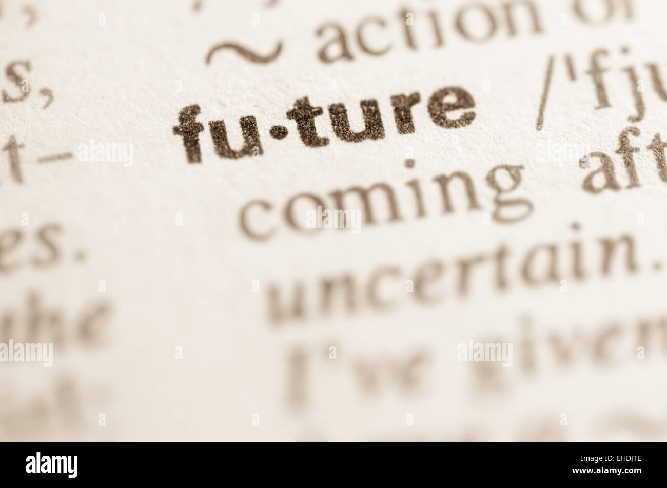 Definición de la palabra futuro en el diccionario. Imagen De Stock
