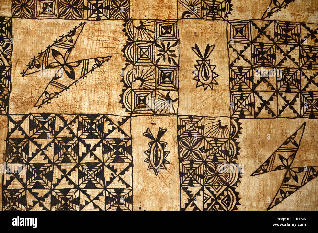 Antecedentes de tapas tradicionales de las Islas del Pacífico, tela, un barkcloth realizados principalmente Imagen De Stock
