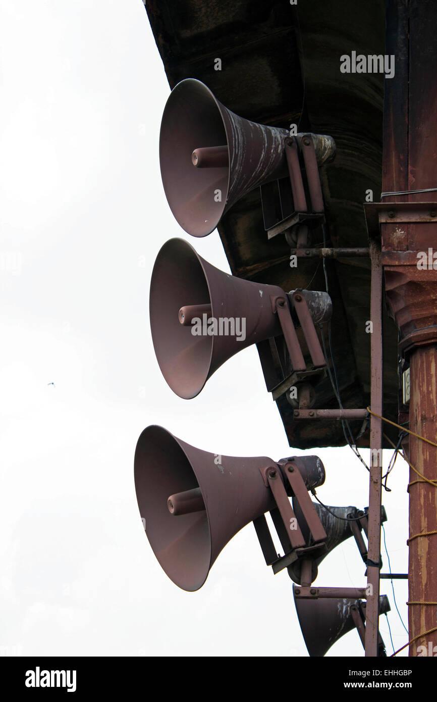 Amplificador, anunciar, anuncio, anunciando, atención, audio broadcast, megafonía, recorte, comando, comunicarse Imagen De Stock