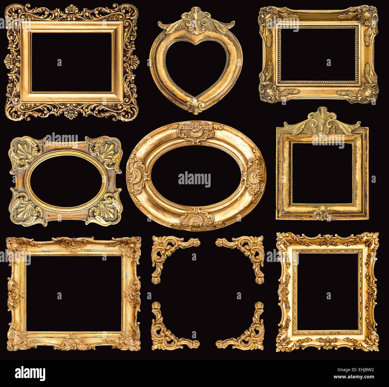 Conjunto de marcos dorados sobre fondo negro. Objetos antiguos de ...