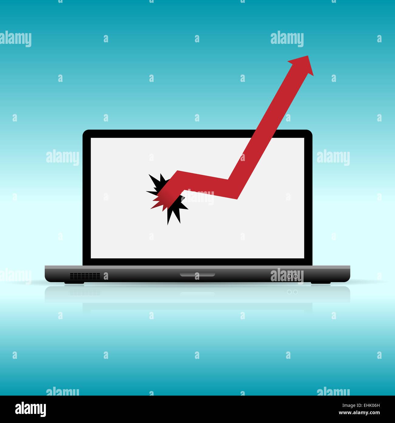 Ilustración vectorial de gráficos romper portátil. Imagen De Stock