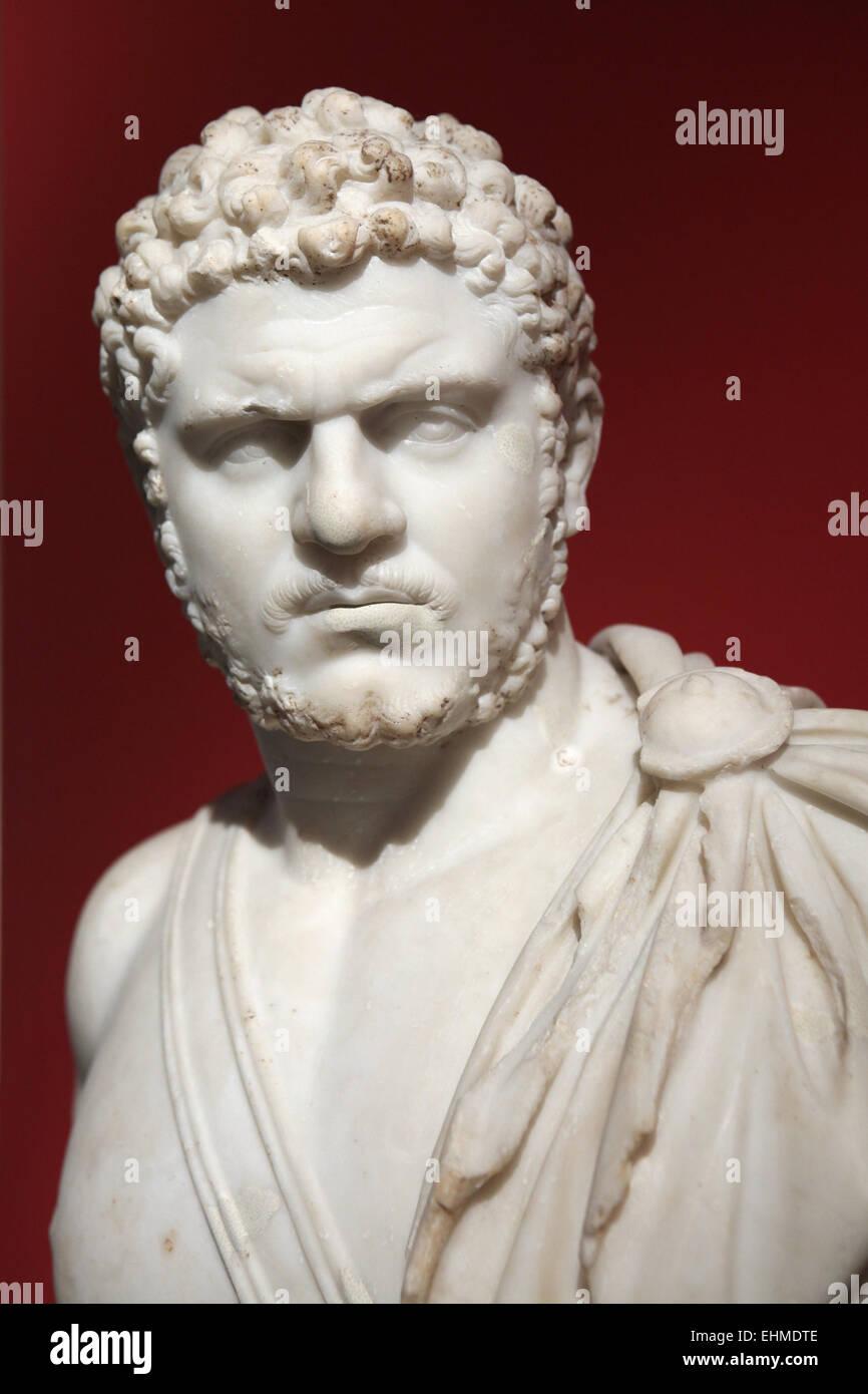 El emperador Caracalla. Busto de mármol romano de 212-217 AD. Altes Museum, Berlín, Alemania. Foto de stock
