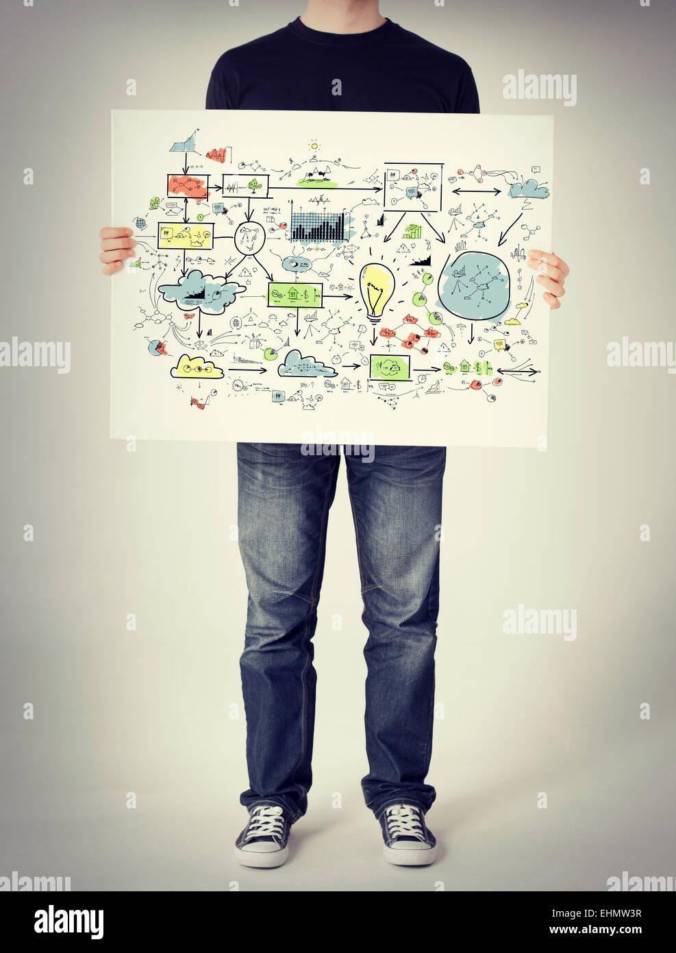 Hombre mostrando gran plan en una pizarra blanca Foto de stock