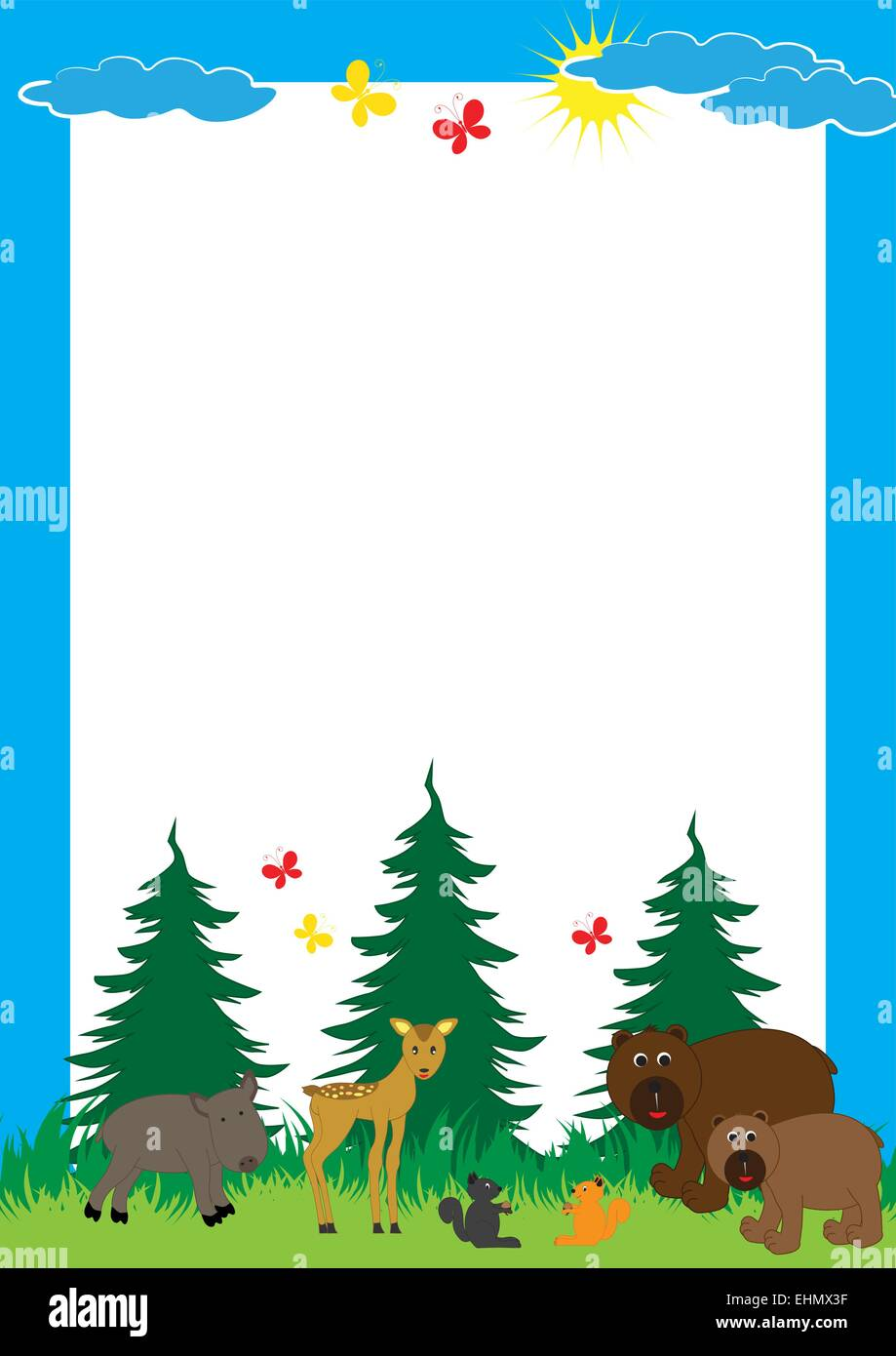 Wild Forest Animals Group Cartoon Imágenes De Stock & Wild Forest ...
