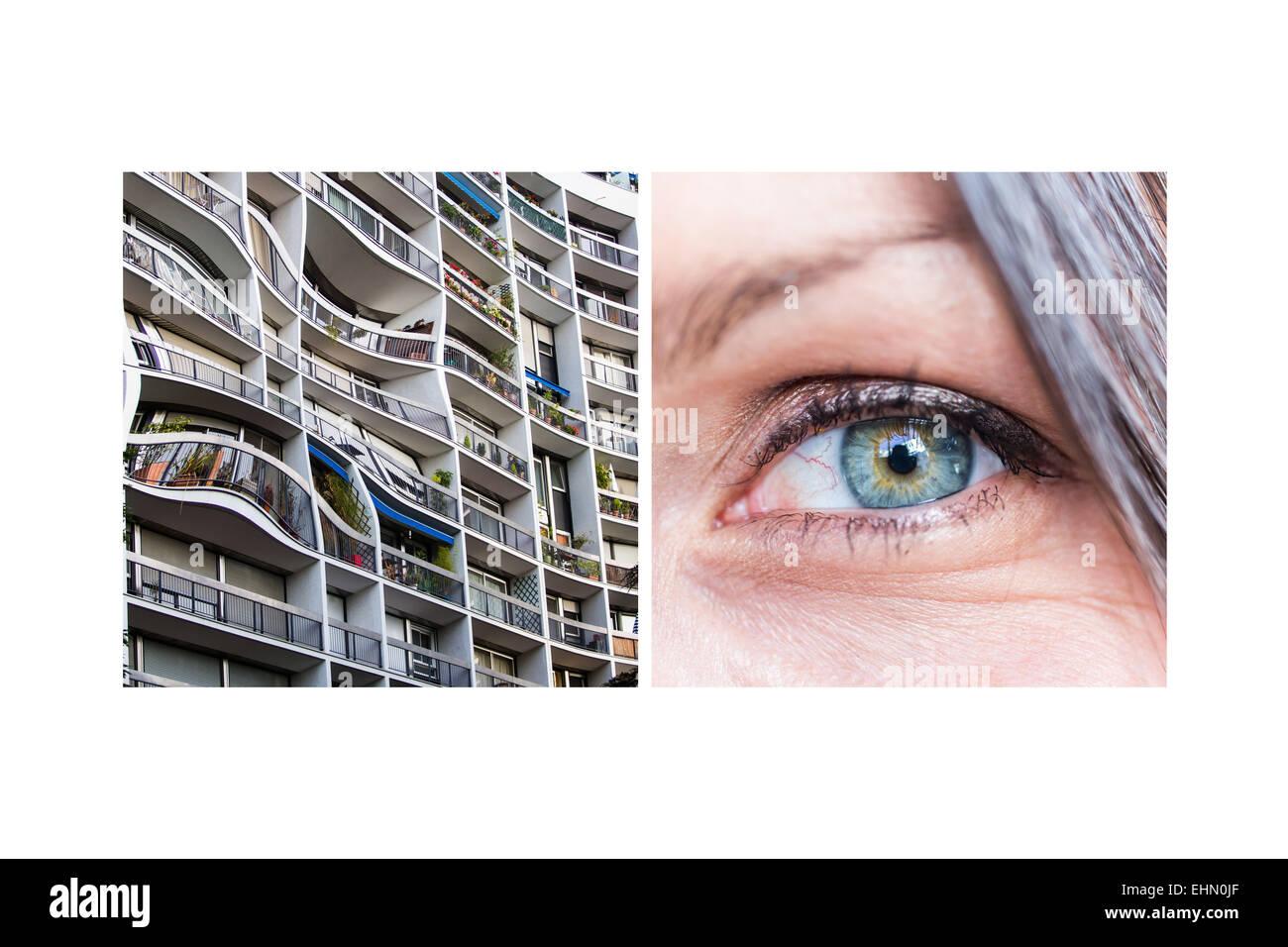 La primera etapa de la visión de una persona afectada por el envejecimiento de degeneración macular (DMAE). Imagen De Stock
