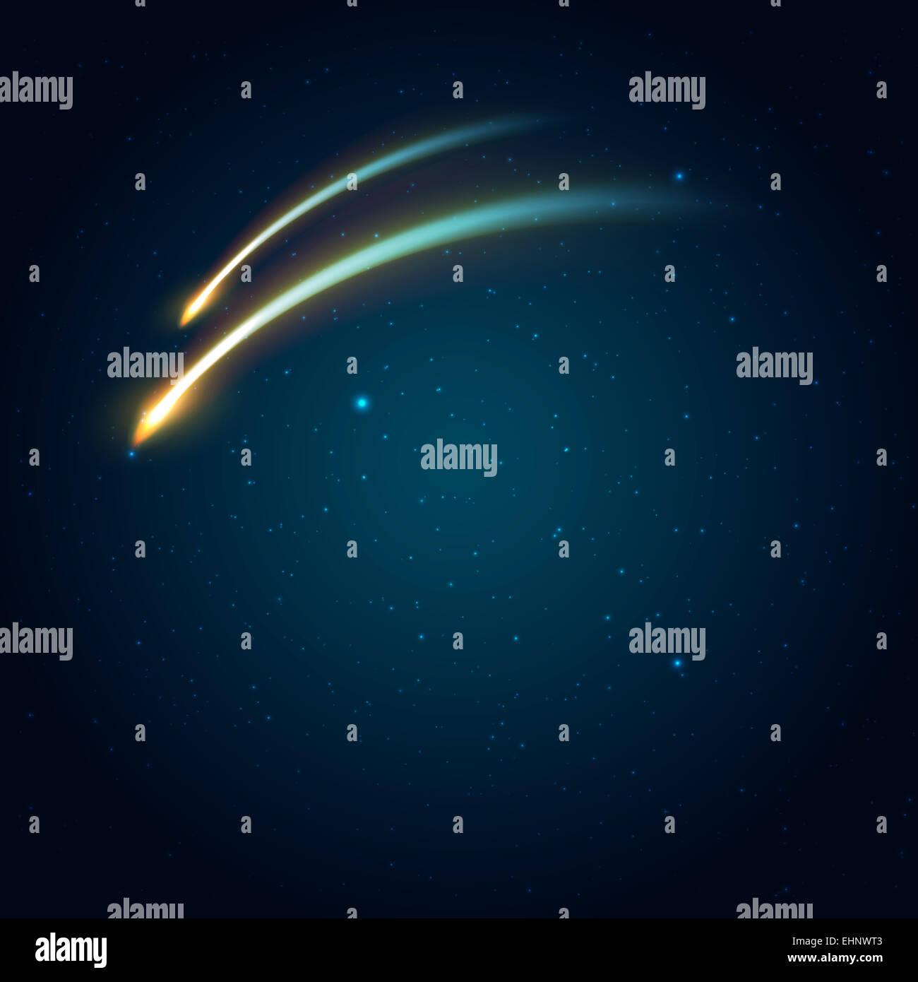 Dos cometas en el espacio de fondo. Ilustración vectorial con espacio para que el texto Foto de stock