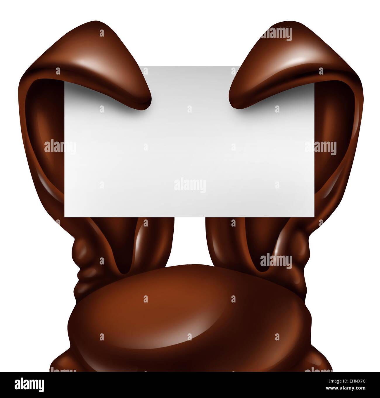 Pascua conejo de chocolate firmar como confitura dulce orejas sosteniendo un título vacío tarjeta como Imagen De Stock
