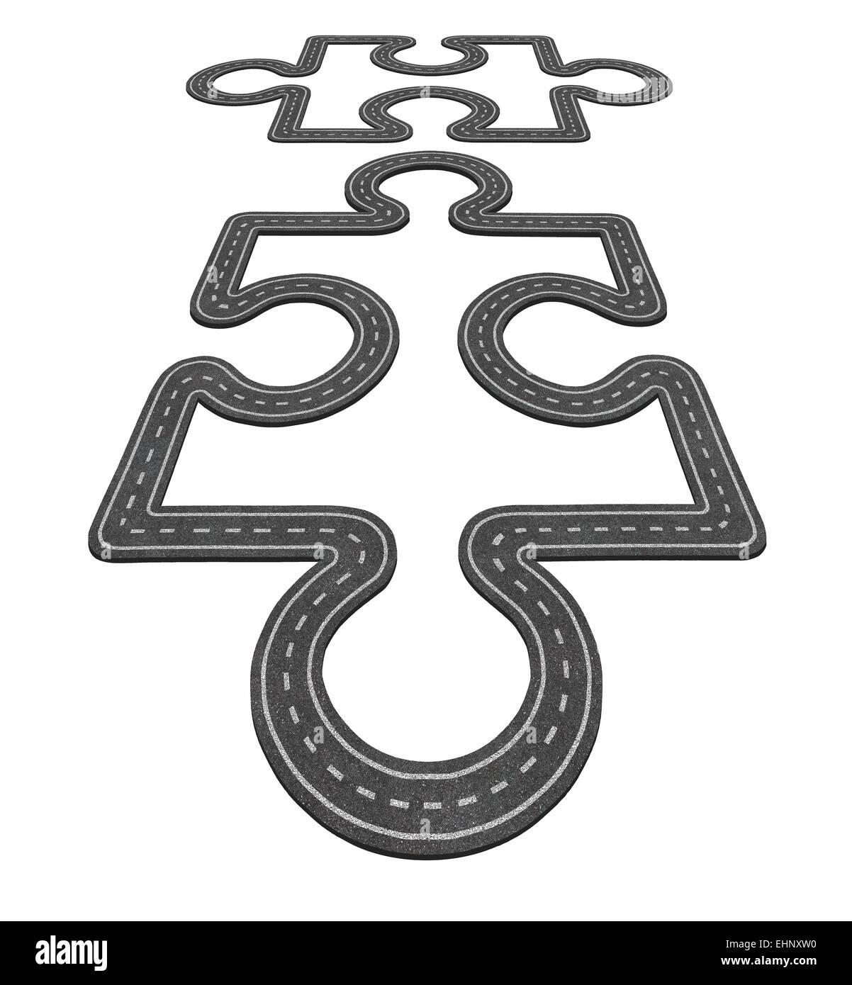 Concepto de conexión por carretera como dos piezas de un rompecabezas fusionando juntos como símbolo de Imagen De Stock