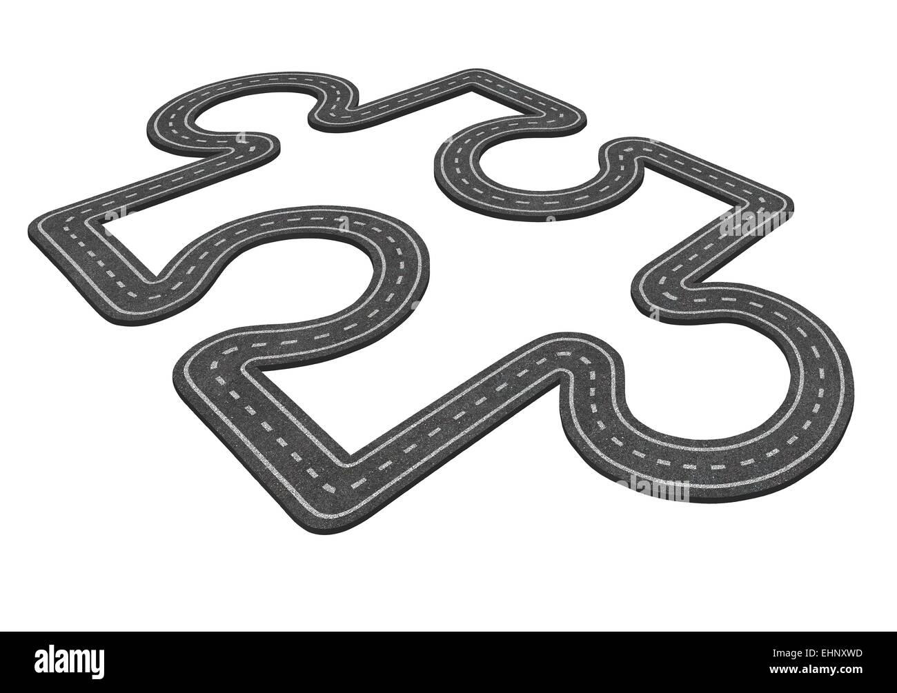 Puzzle road concepto como un símbolo de transporte y negocio icono para el desarrollo económico como una Imagen De Stock