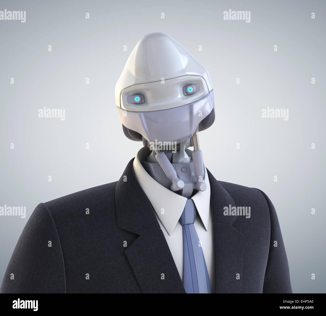 Robot vestida con un traje de negocios. Trazado de recorte incluido Imagen De Stock