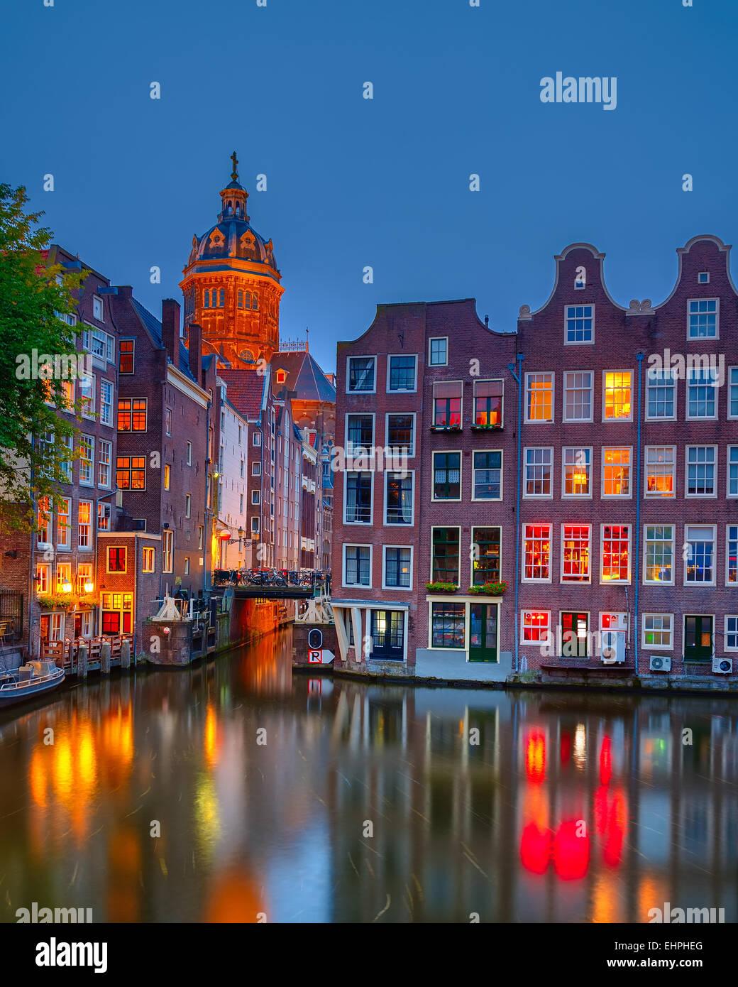 En la noche de Amsterdam Imagen De Stock