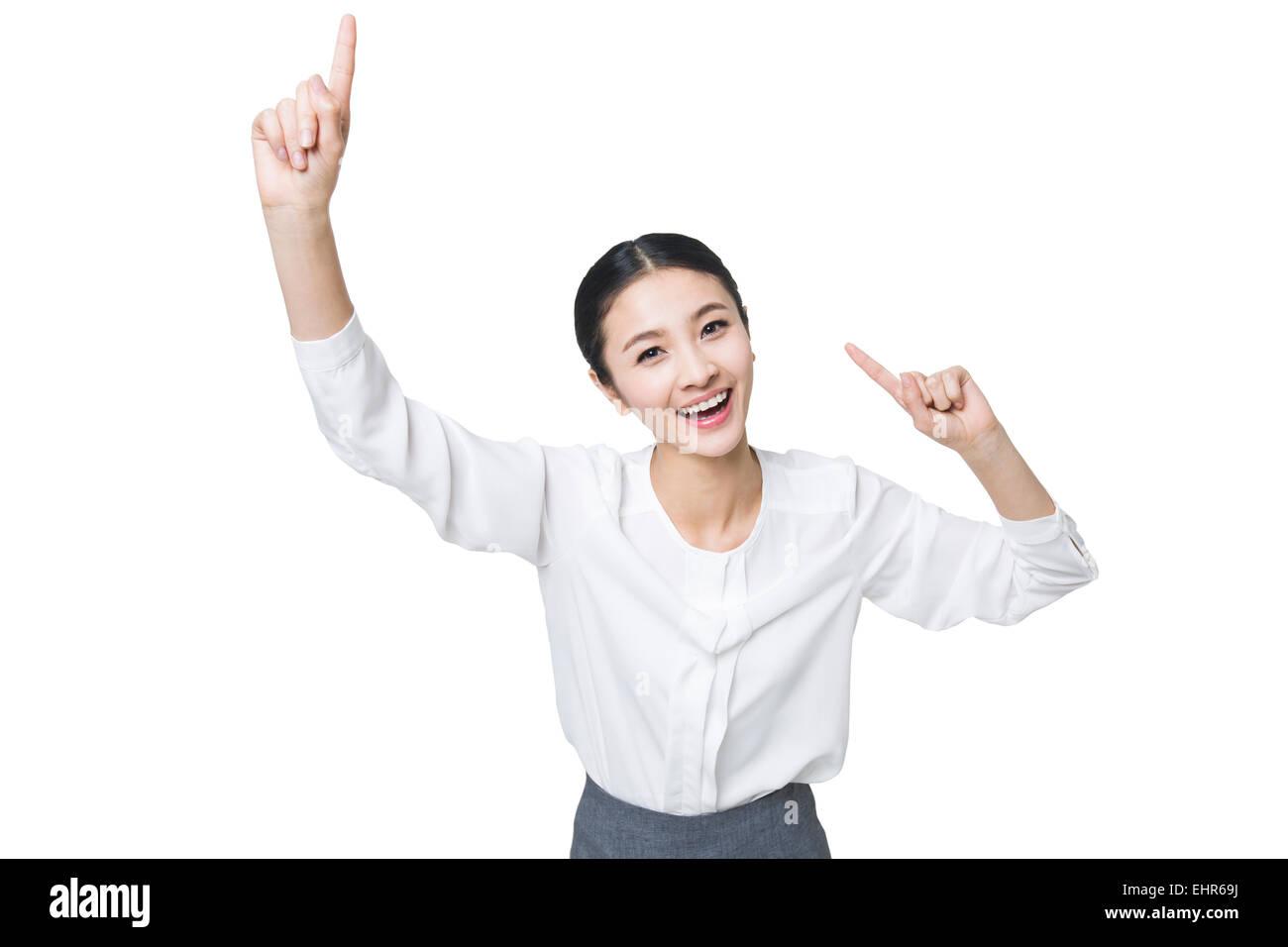 Mujer joven, tener una buena idea Imagen De Stock