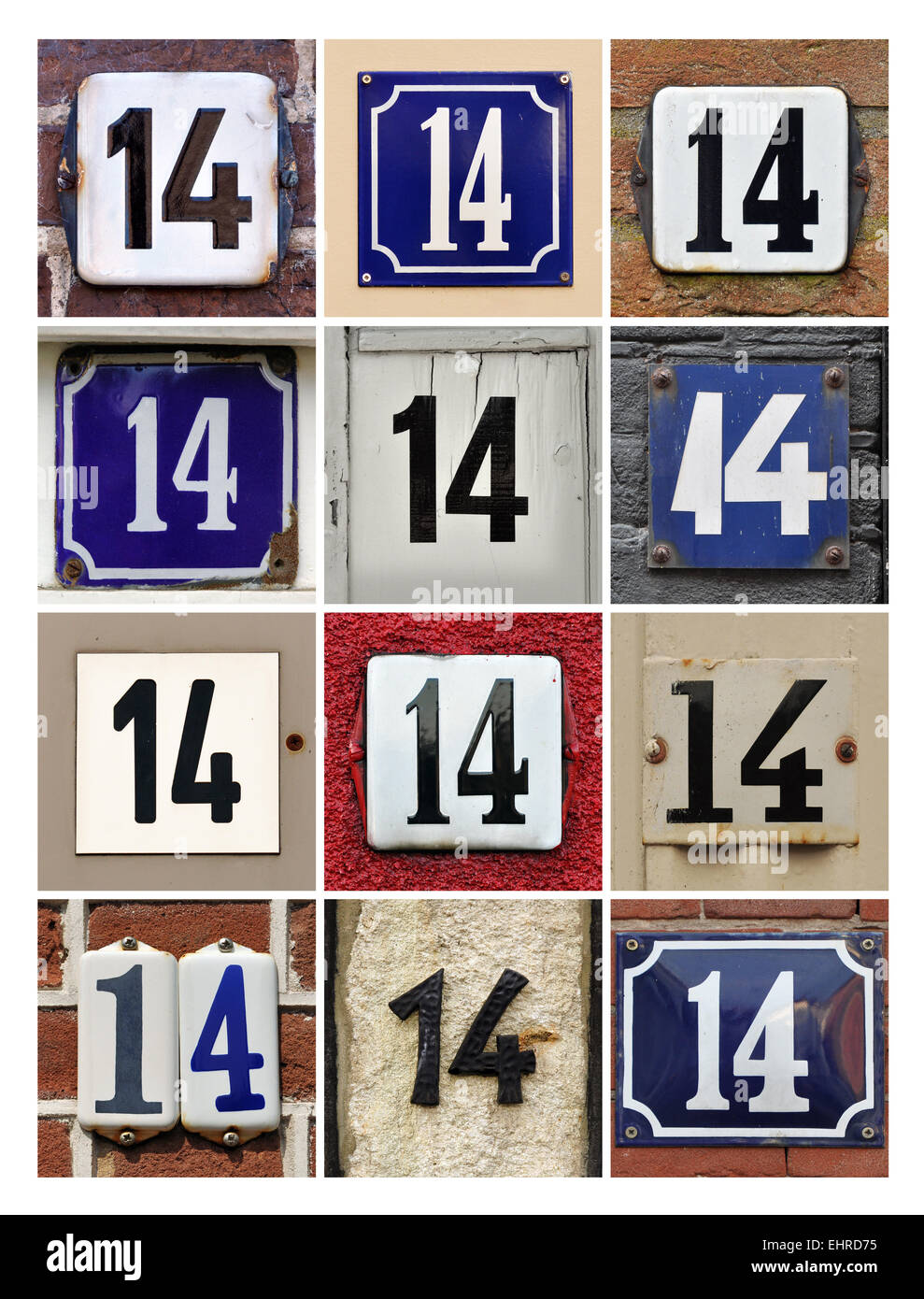 Número 14 - Collage de catorce Números de casa Imagen De Stock