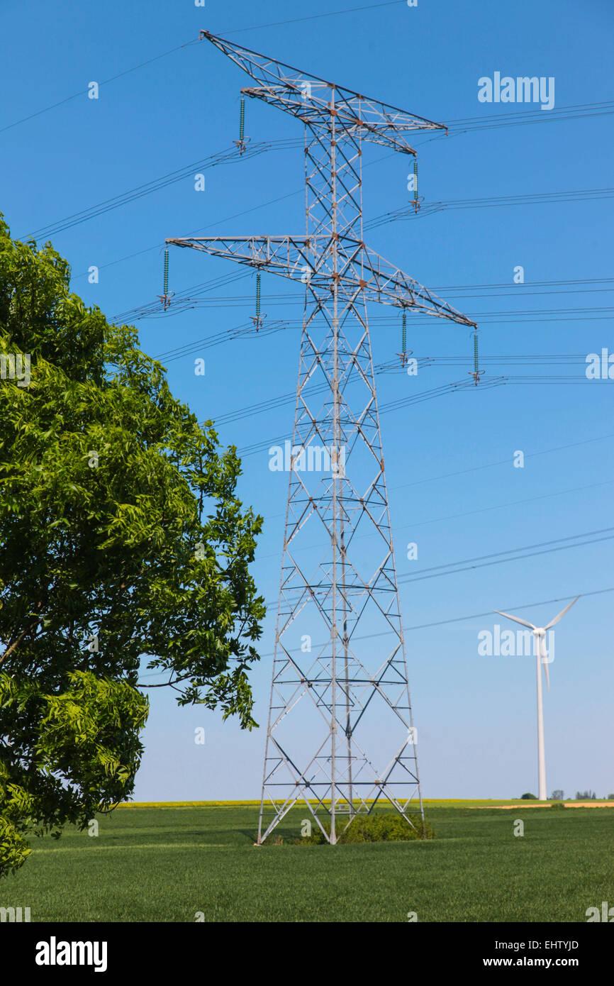 Ilustración de la eléctrica y la energía eólica (80) Somme, Picardía, Francia Imagen De Stock