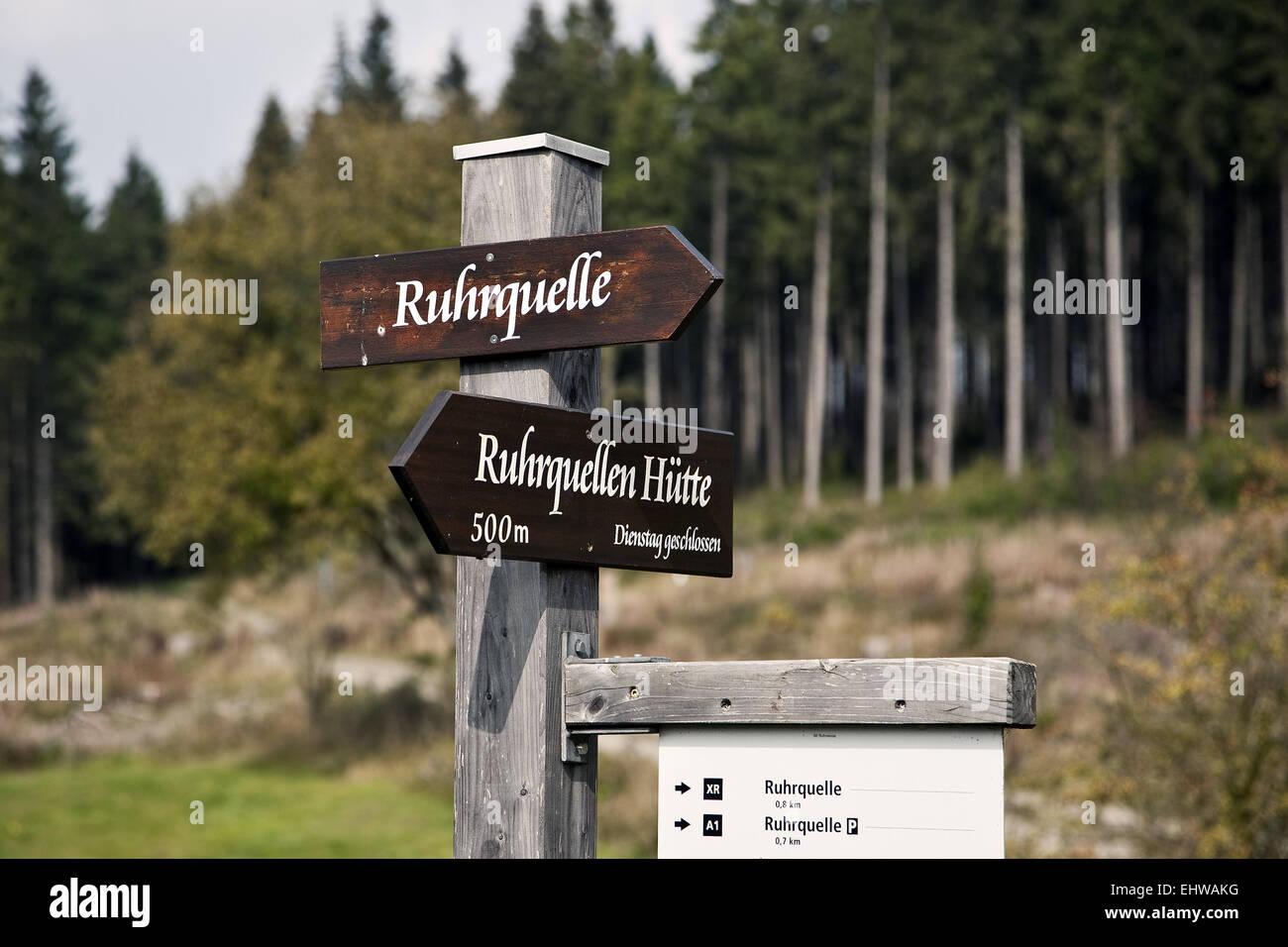 Los signos de la fuente del río Ruhr. Imagen De Stock