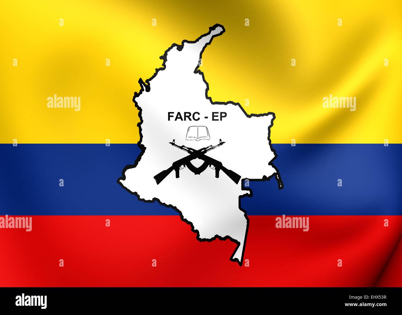 Bandera de las FARC-EP. Cerca. Foto de stock