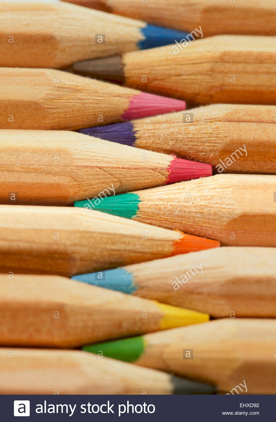 Lápices de colores bodegón macro Cerrar detalle Imagen De Stock