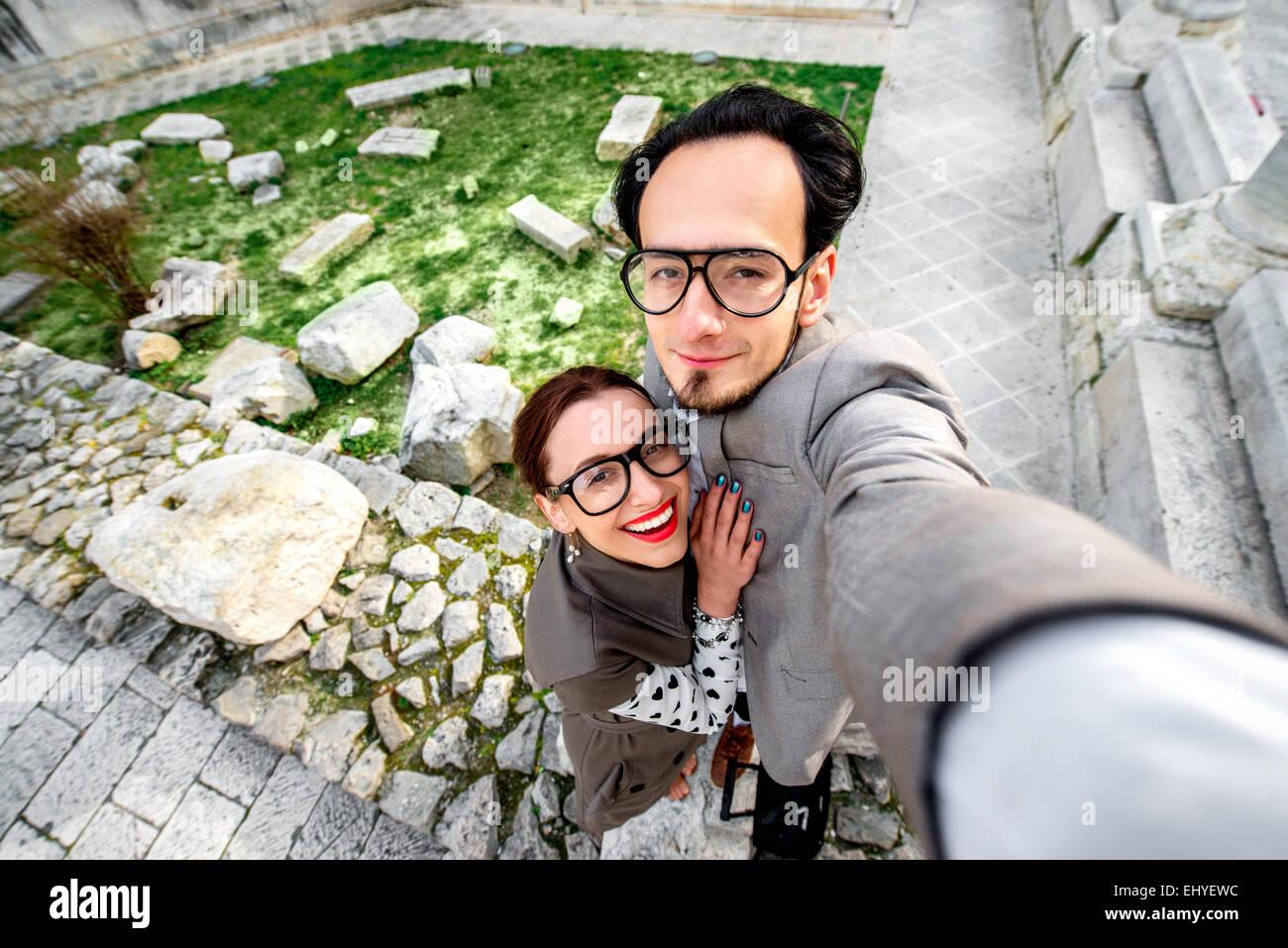 Par Tomar imagen selfie Imagen De Stock