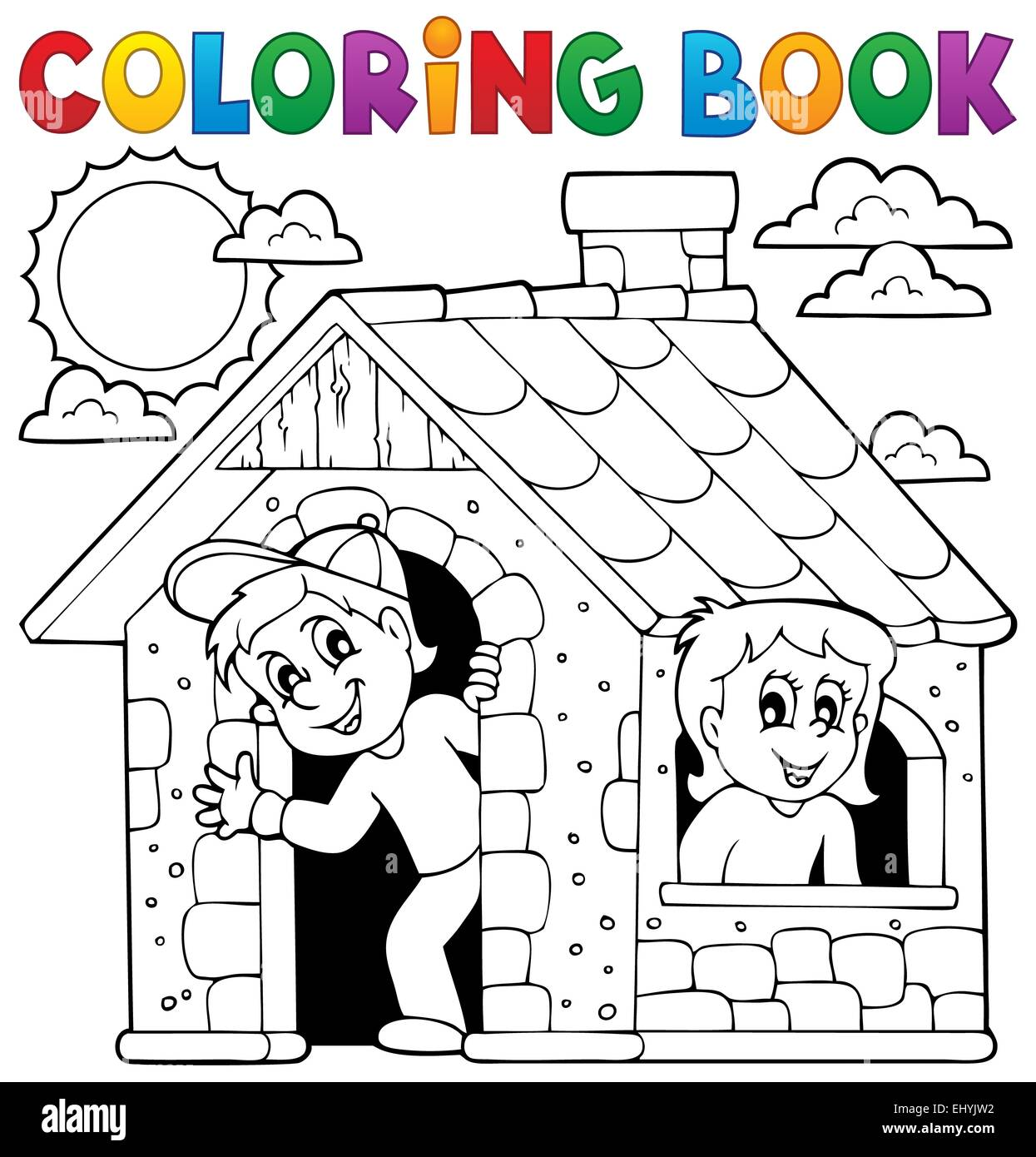 Libro Para Colorear Niños Jugando En Casa Ilustración Ilustración