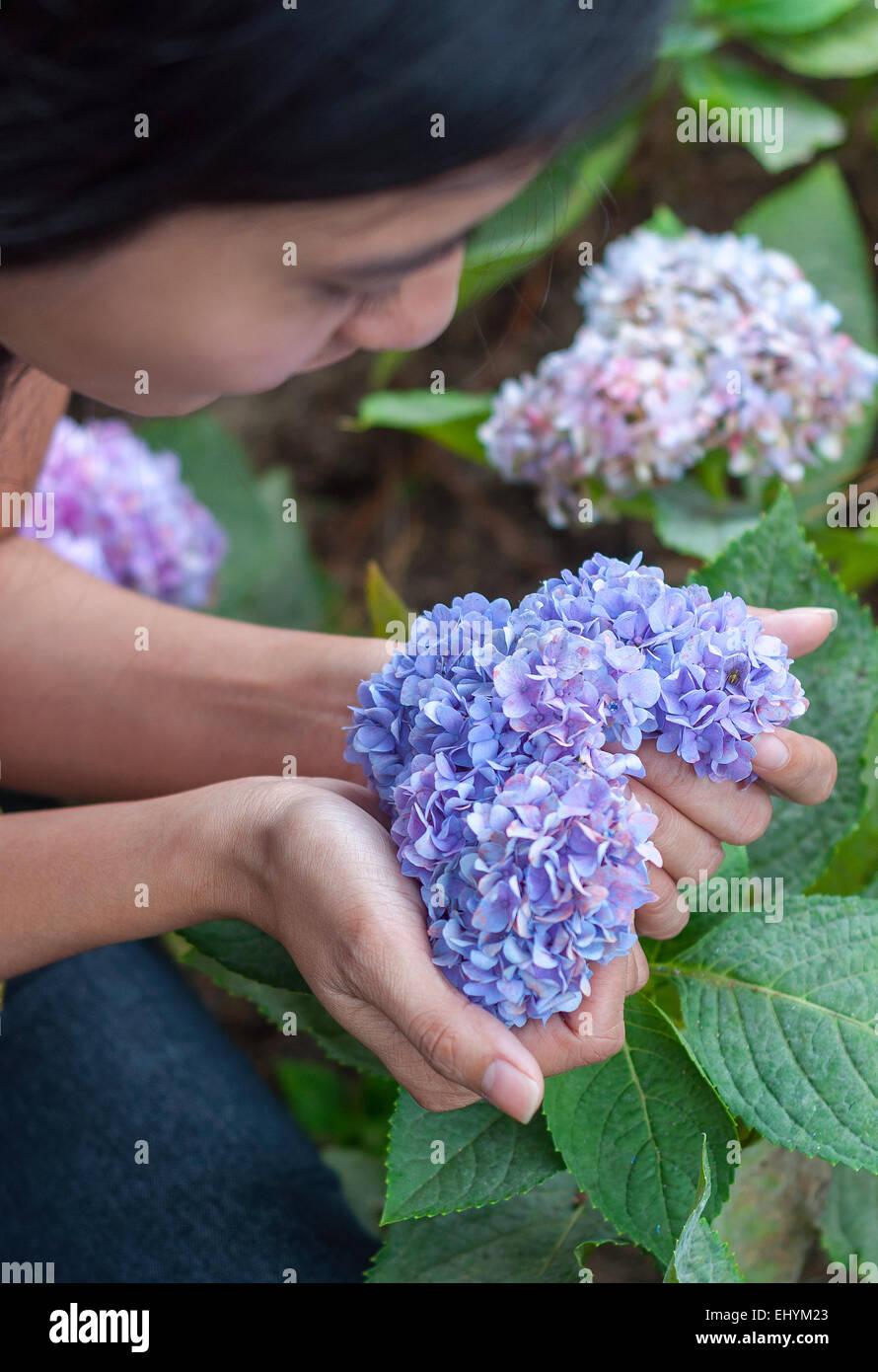 Mujer joven sosteniendo flores en forma de corazón en su mano Imagen De Stock
