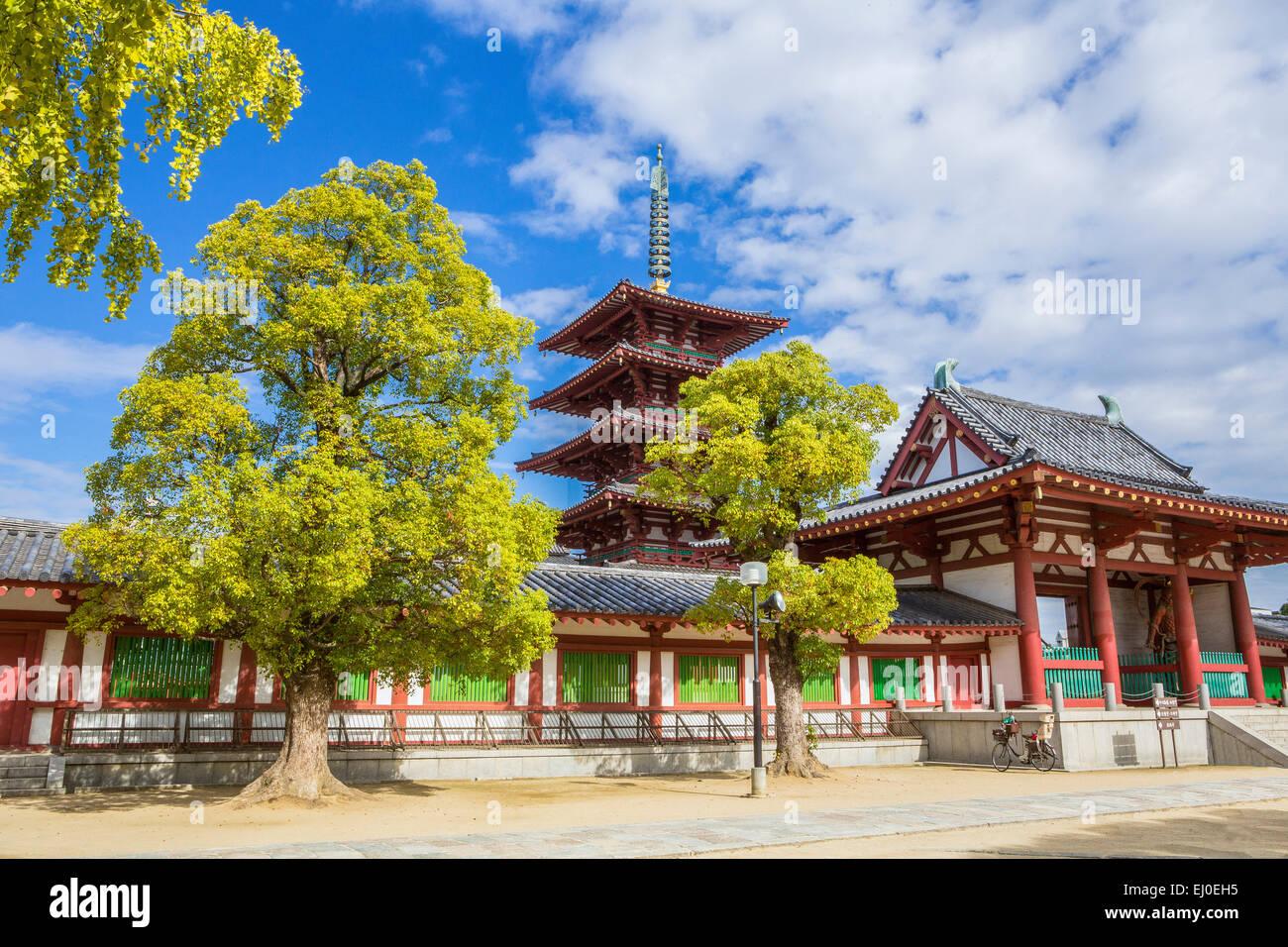 Japón, Asia, Kansai, Osaka, la ciudad, el templo Shitennoji, patrimonio mundial, arquitectura, historia, mañana, Imagen De Stock