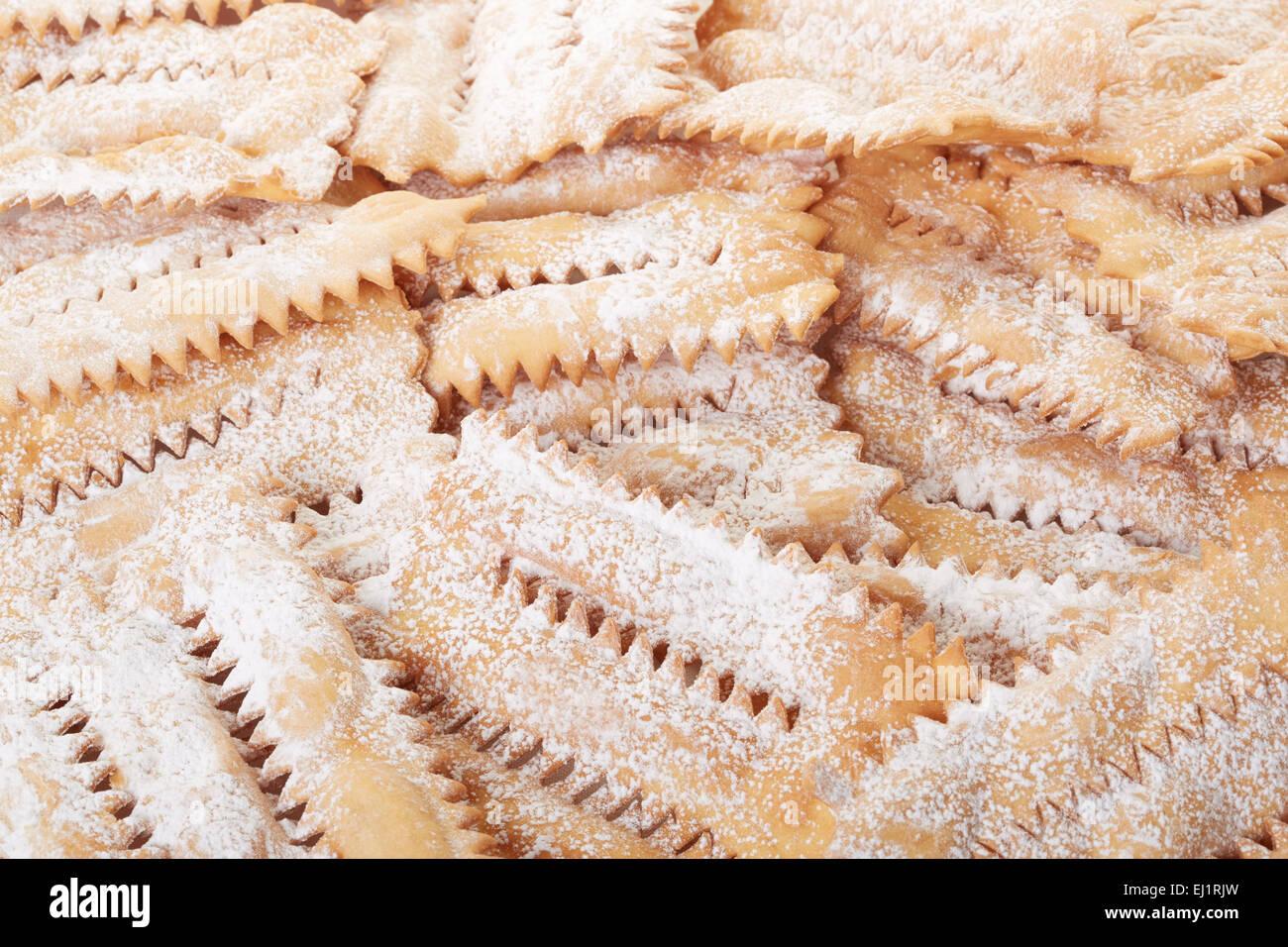 Chiacchiere, Carnaval de fondo de pastelería italiana Imagen De Stock