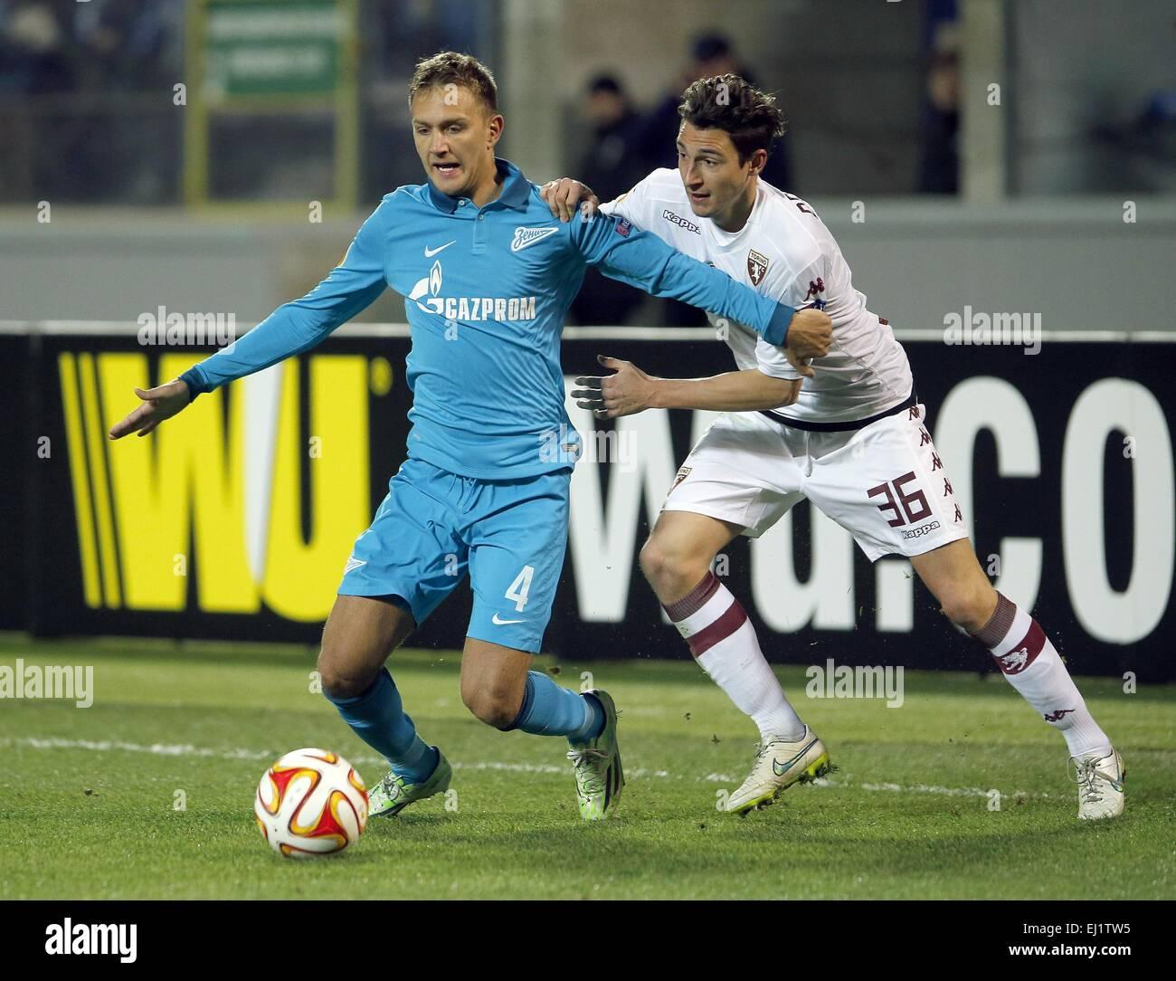 2497cfa3 Europa League 2014/15. 1/8 final. FC Zenit San Petersburgo vs Torino F.C.,  2:0. En la foto: FC Zenit player Domenico Criscito (4), Torino F.C. jugador  ...