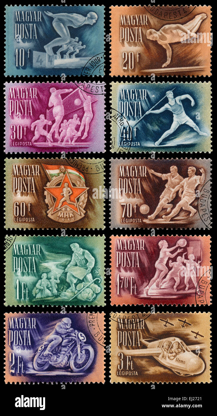 Hungría - circa 1950: Conjunto de sellos impresos en Hungría, espectáculos deportivos, jugadores, circa 1950 Foto de stock