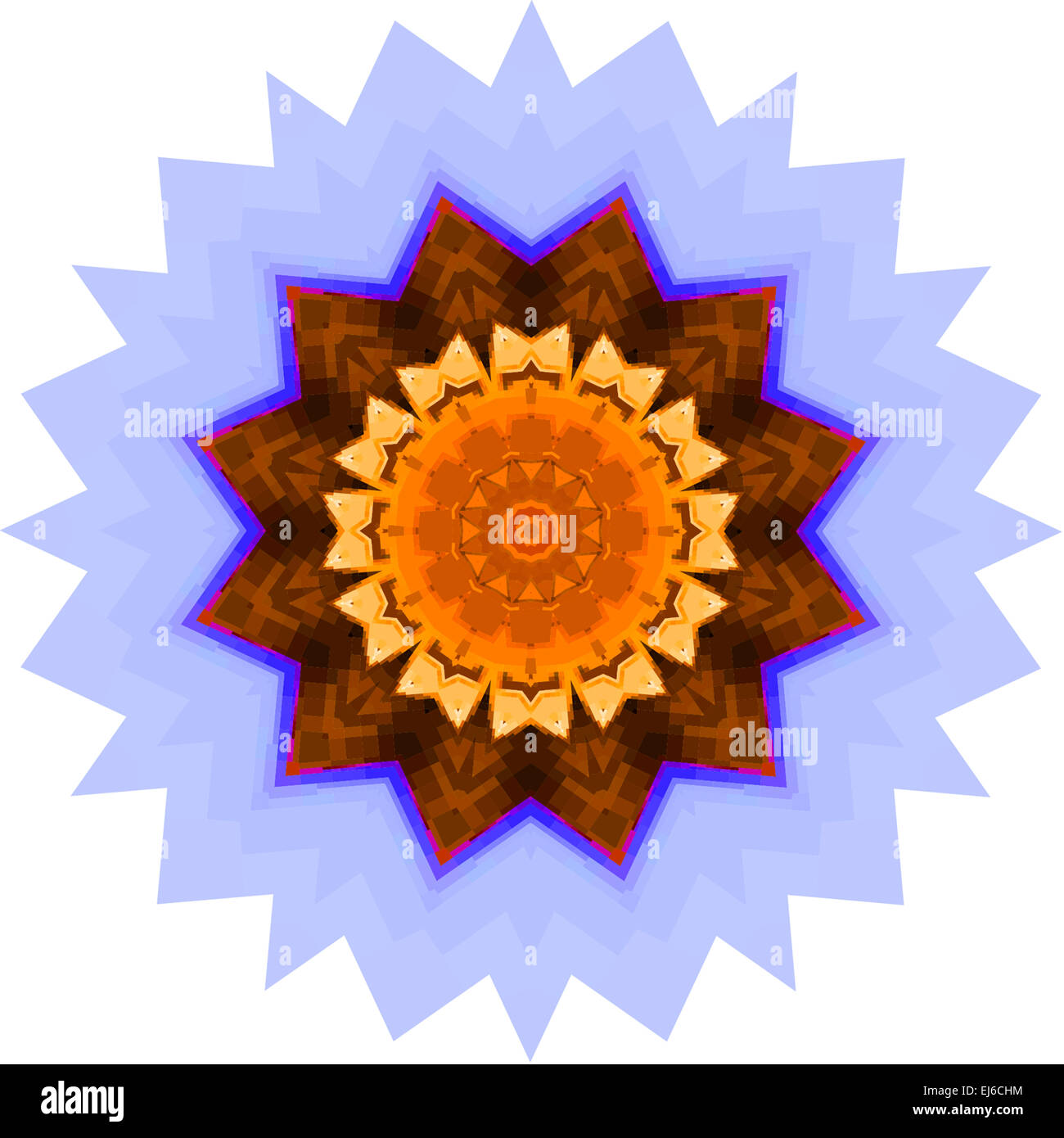 Un mandala roseta símbolo en azul, los tonos de color naranja y ...