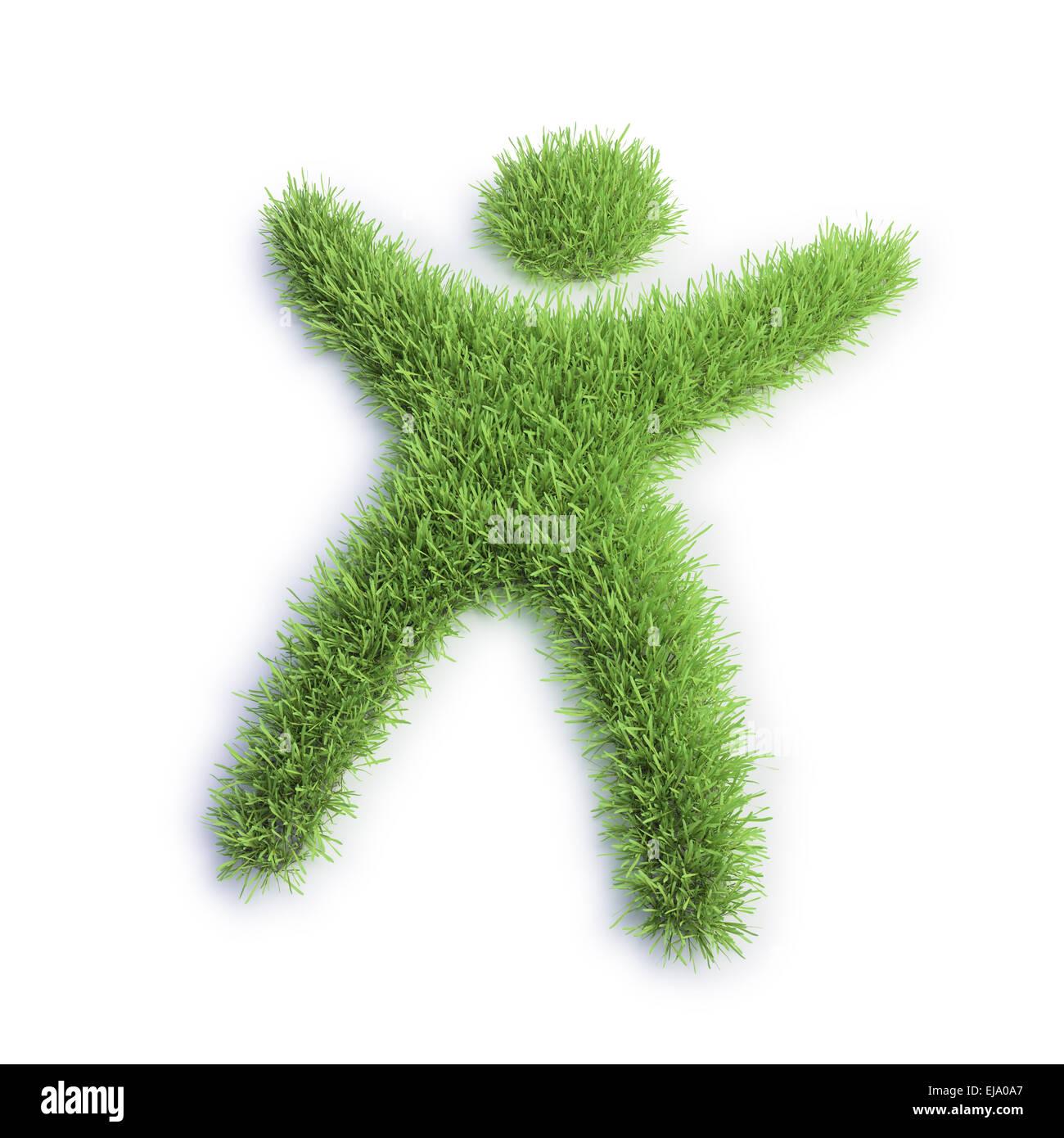 Eco - icono verde de césped con forma humana como un diminuto Imagen De Stock