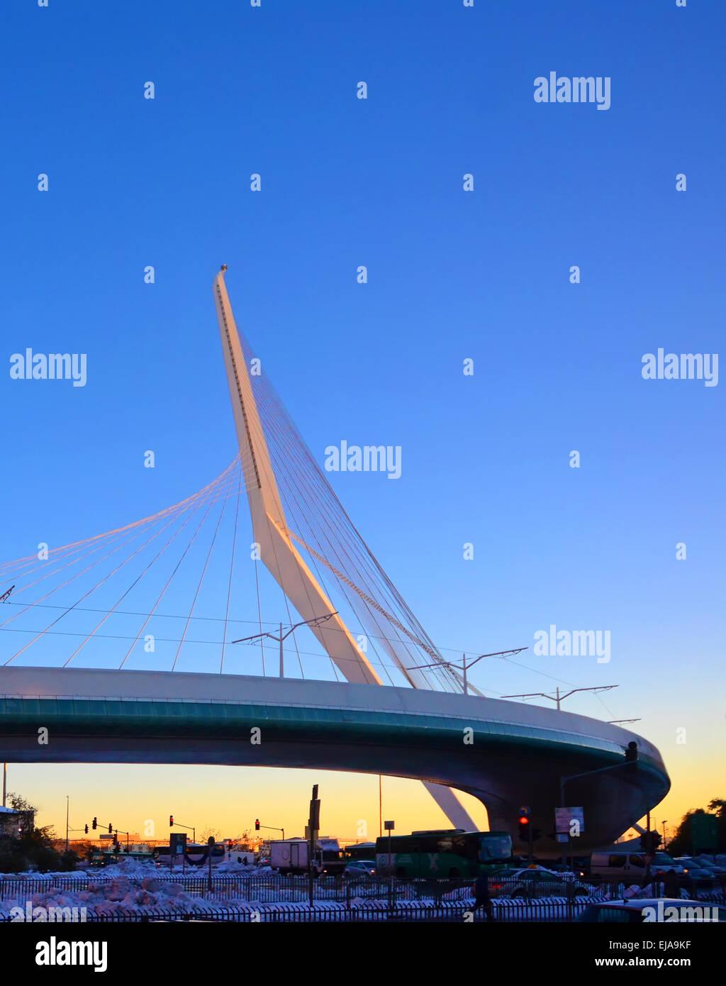 Puente de las cadenas, Santiago Calatrava, Jerusalem, Israel Imagen De Stock