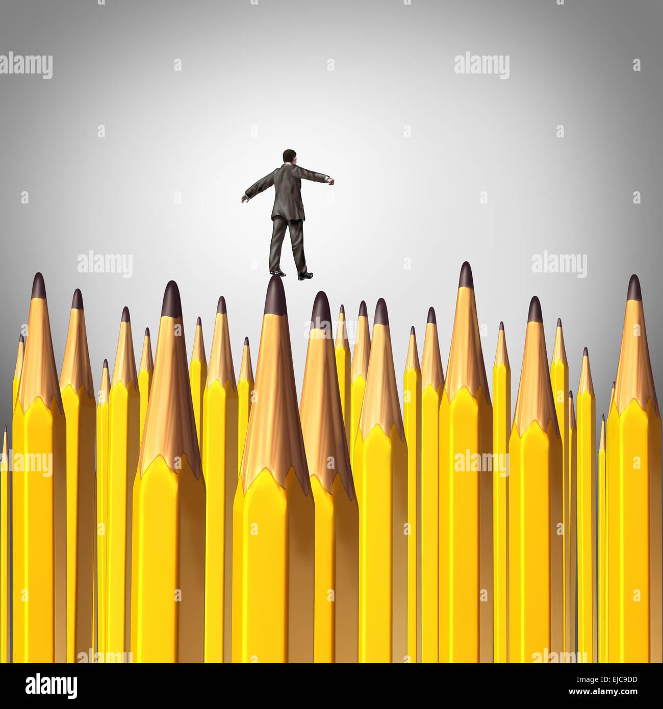 Decisión creativo concepto de riesgo como una persona caminando cuidadosamente mediante un fondo con un grupo Imagen De Stock