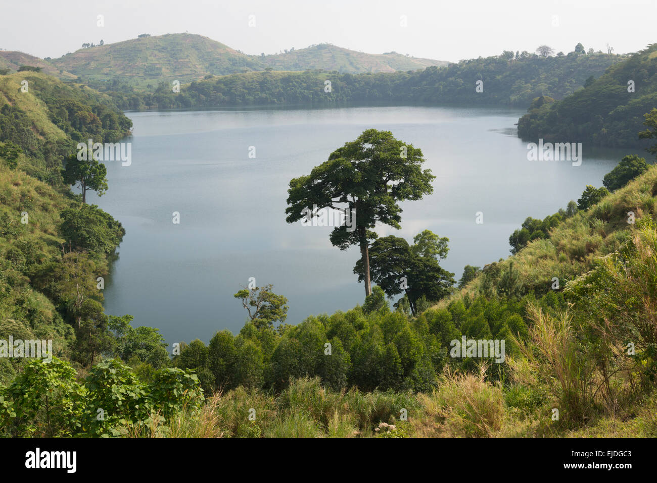 Los lagos de los cráteres. Fort Portale zona. Uganda. Imagen De Stock
