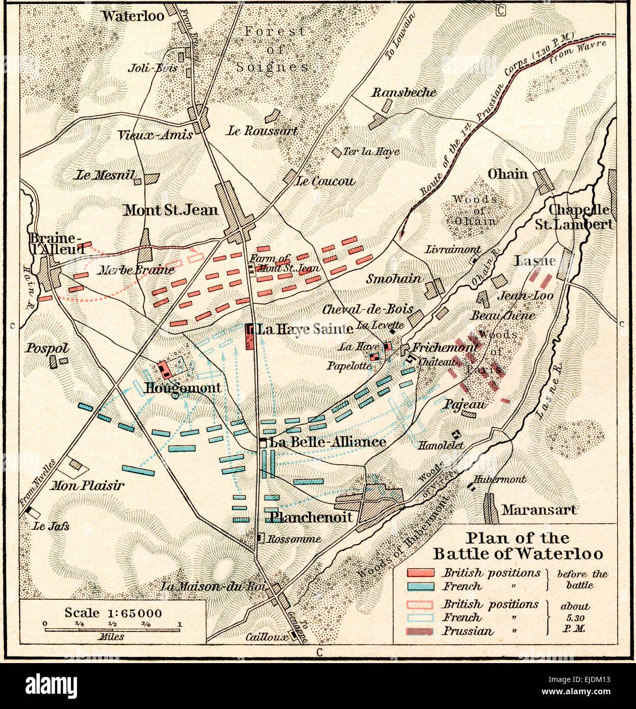 El plan de la batalla de Waterloo, Junio 16-18, 1815. Desde Atlas Histórico, publicado en 1923. Imagen De Stock
