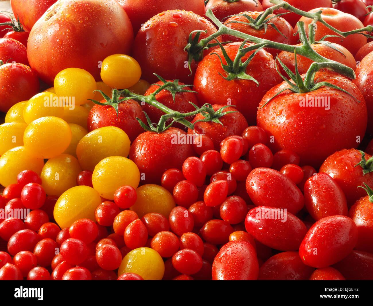 Tomates enteros frescos mixtos Imagen De Stock