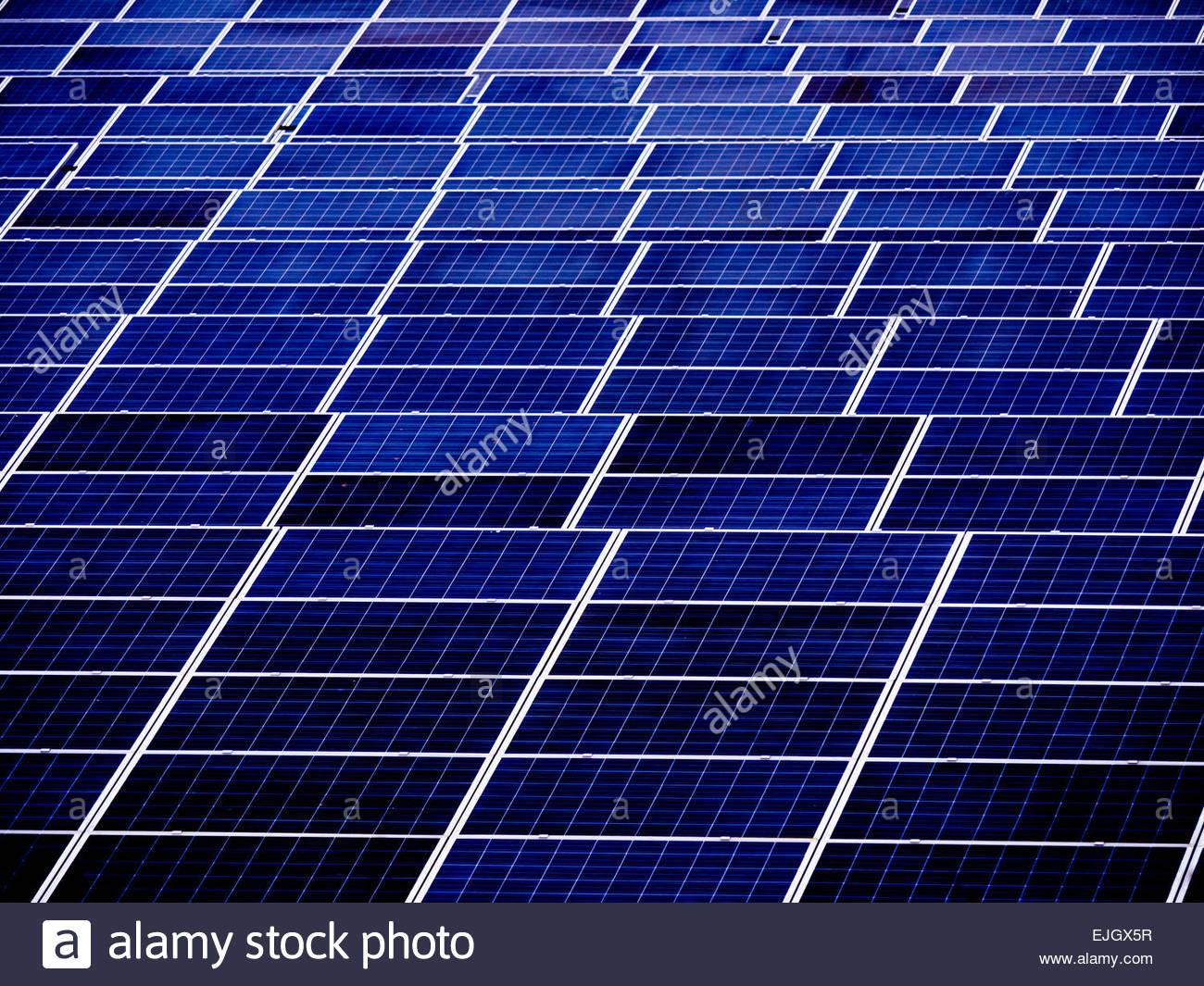 Paneles solares en el campo de energía caliente Electricidad de West Sussex, Inglaterra Imagen De Stock