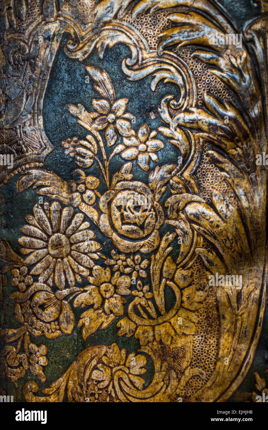 Paneles de cuero, Museo Plantin-Moretus, Antwerp, Bélgica. Imagen De Stock