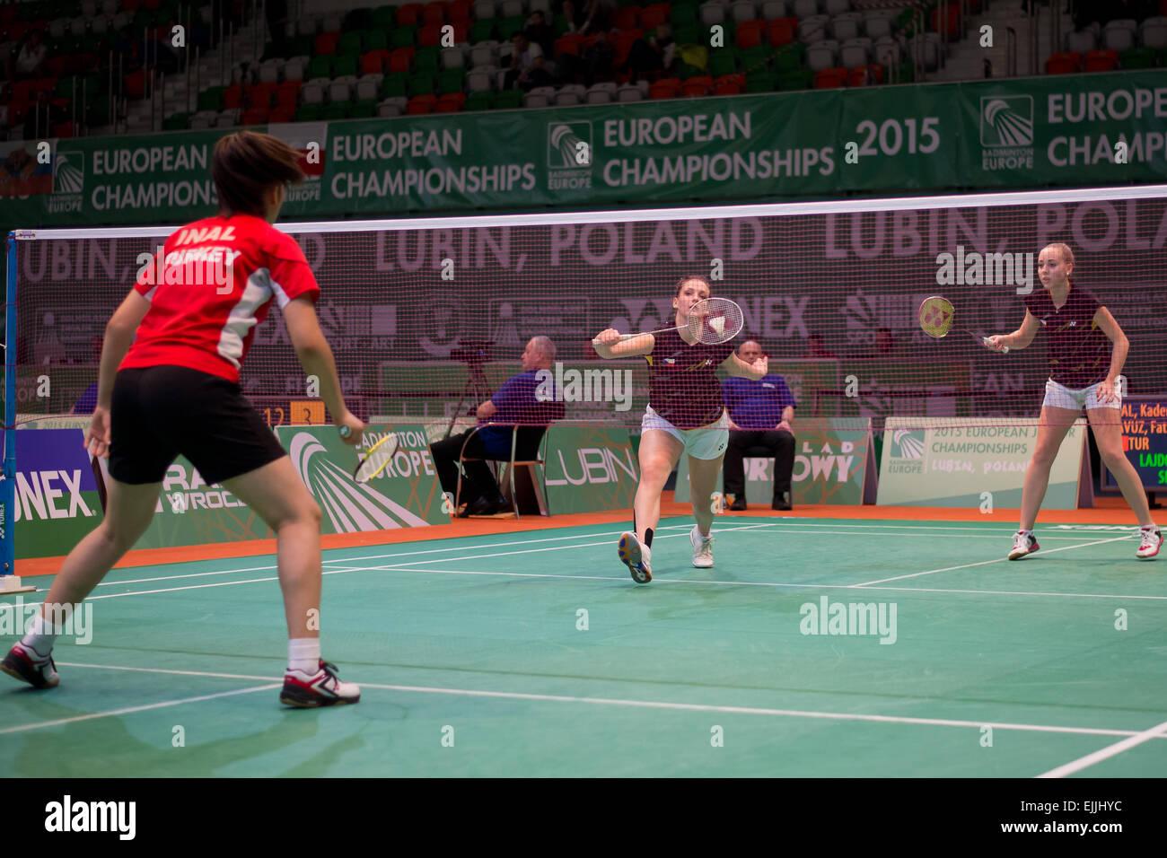 Lubin, Polonia. 27 Mar, 2015. Torneo de Equipos en badminton durante el Campeonato Junior Europeo 2015. Coincidencia Imagen De Stock
