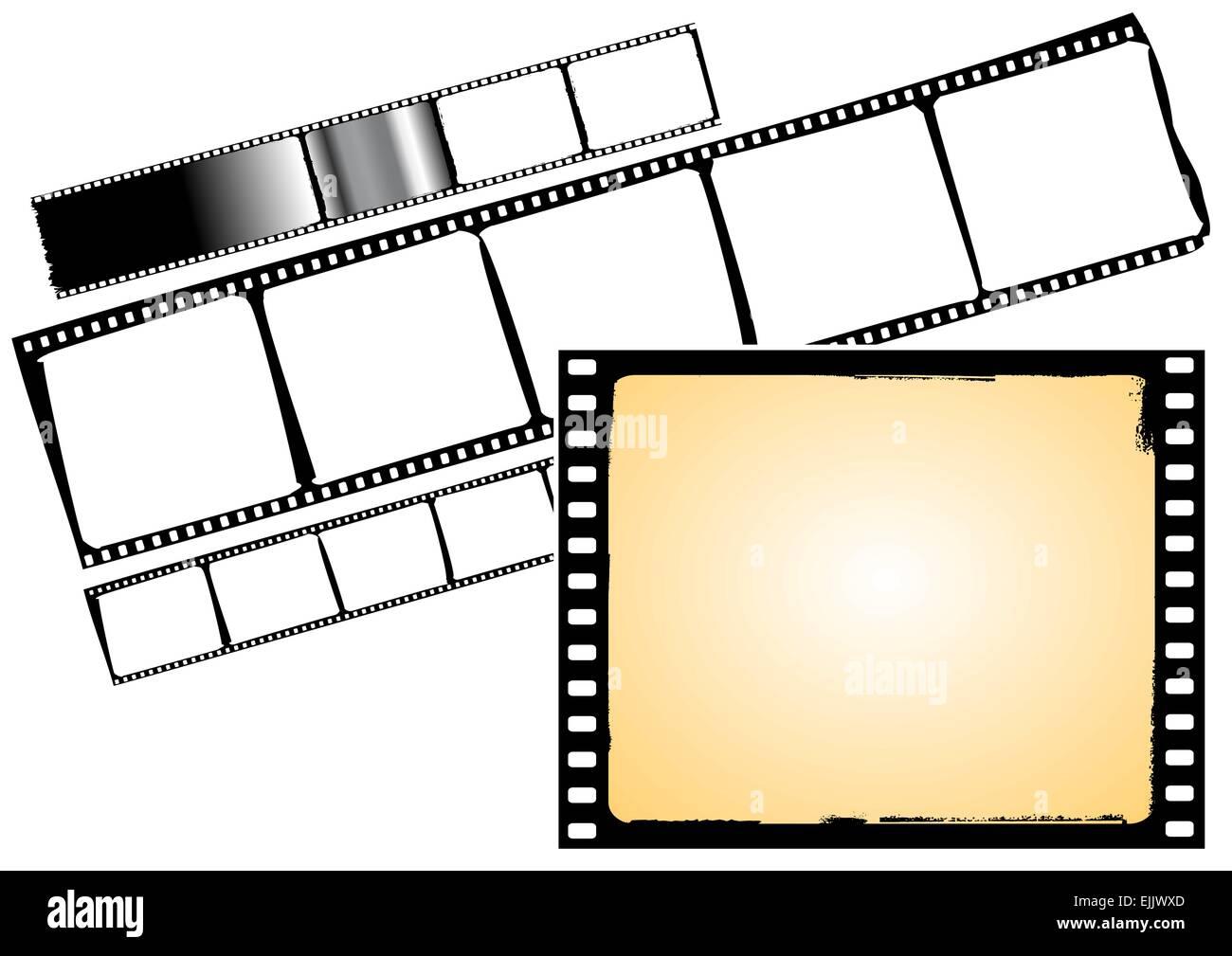 Diversos cuadros de pelicula y las tiras de película - vector ...