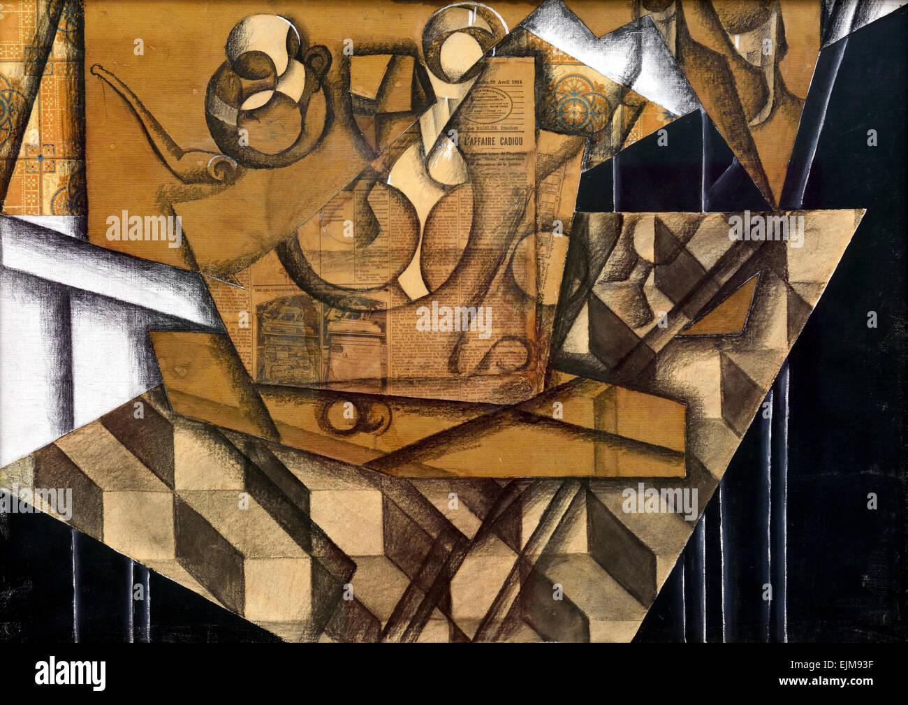 Verres, tasse de thé, tubo bouteille et sur une table / Tazas de 1914 Juan Gris 1887 - 1927 Español España Imagen De Stock