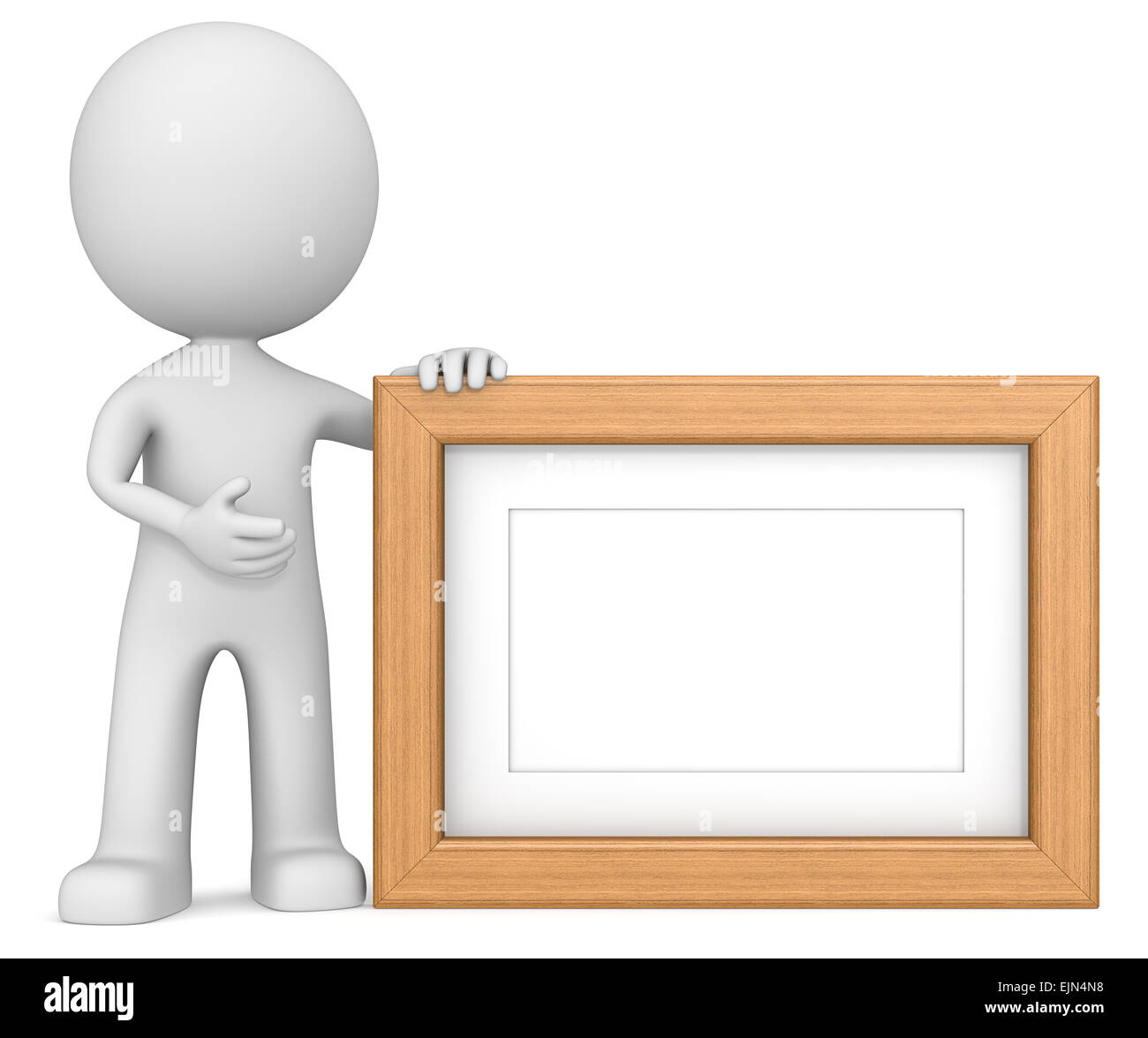 Marco de fotos de madera. El amigo personaje 3D manteniendo el marco ...