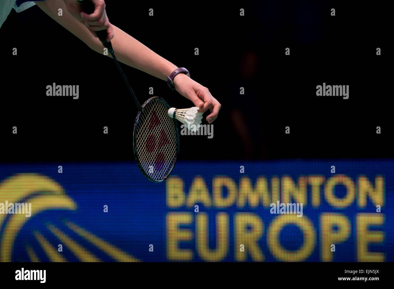 Lubin, Polonia. 29 Mar, 2015. Semifinal del torneo de equipos en badminton durante el Campeonato Junior Europeo Imagen De Stock